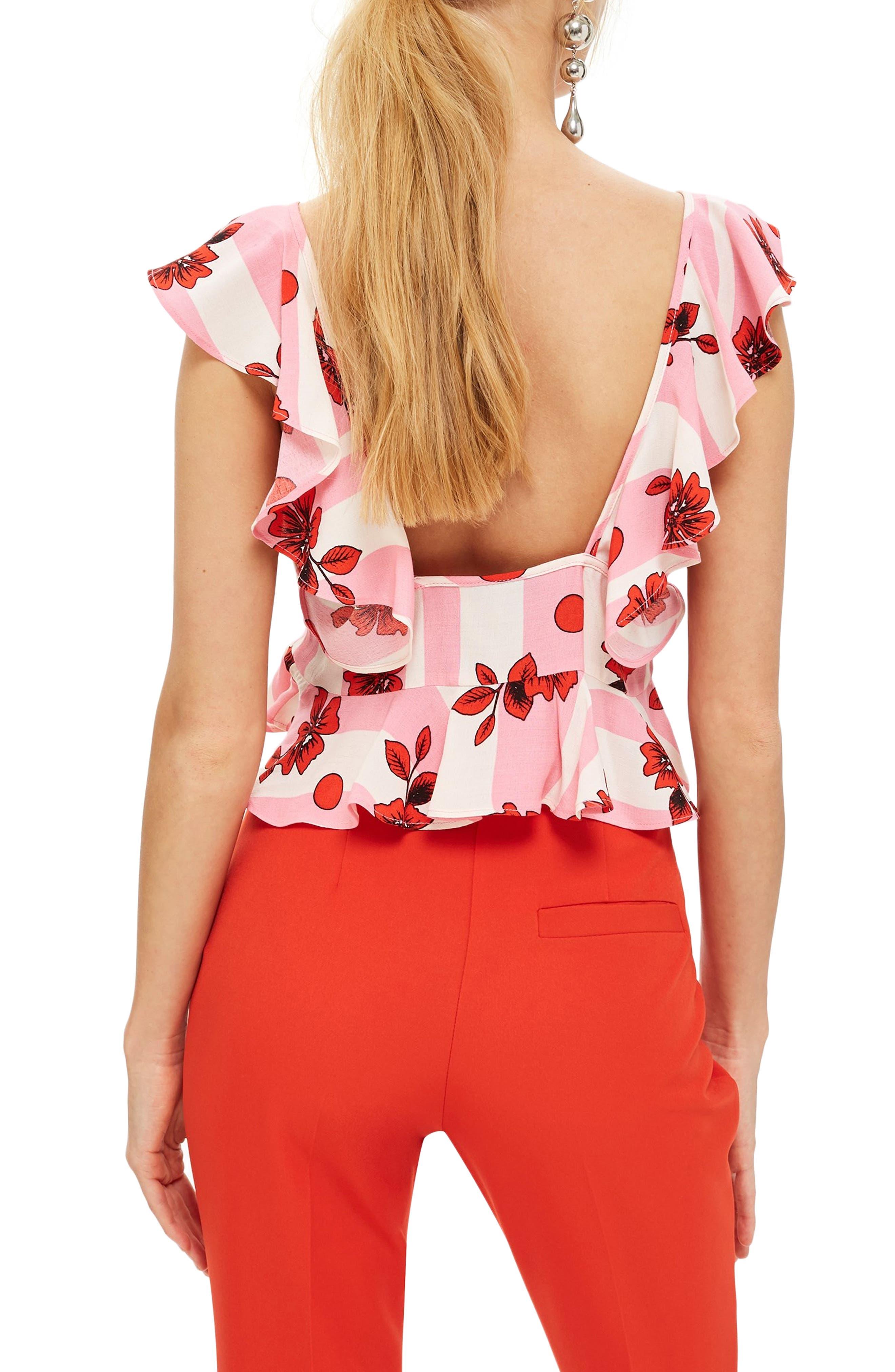 Brigitte Floral Suntop,                             Alternate thumbnail 2, color,                             Pink