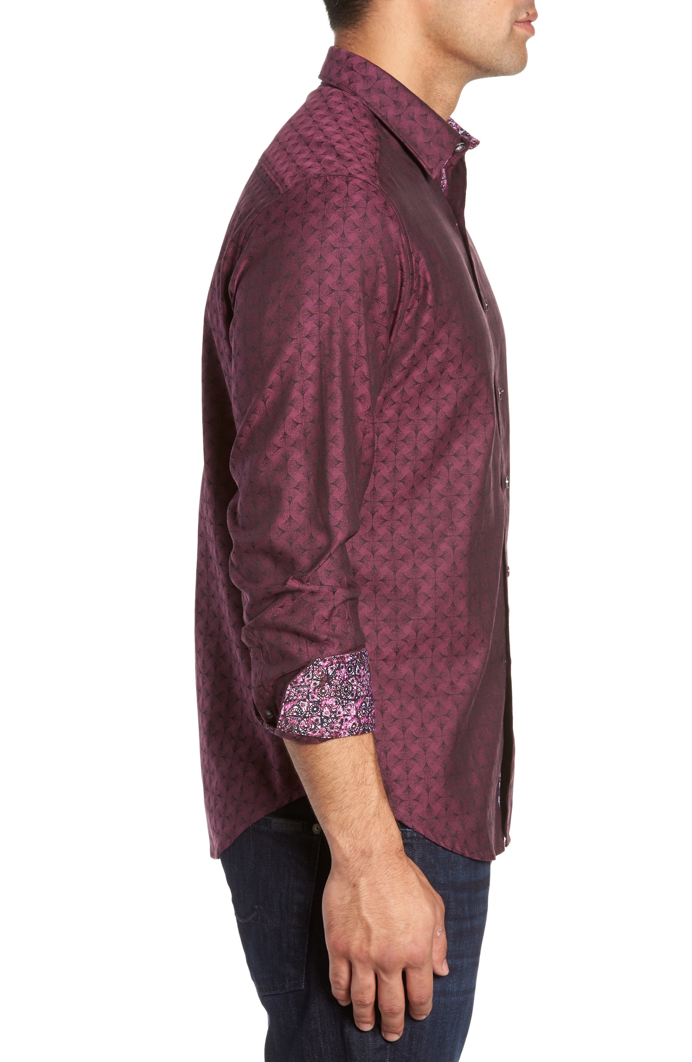 Diamante Classic Fit Print Sport Shirt,                             Alternate thumbnail 3, color,                             Berry