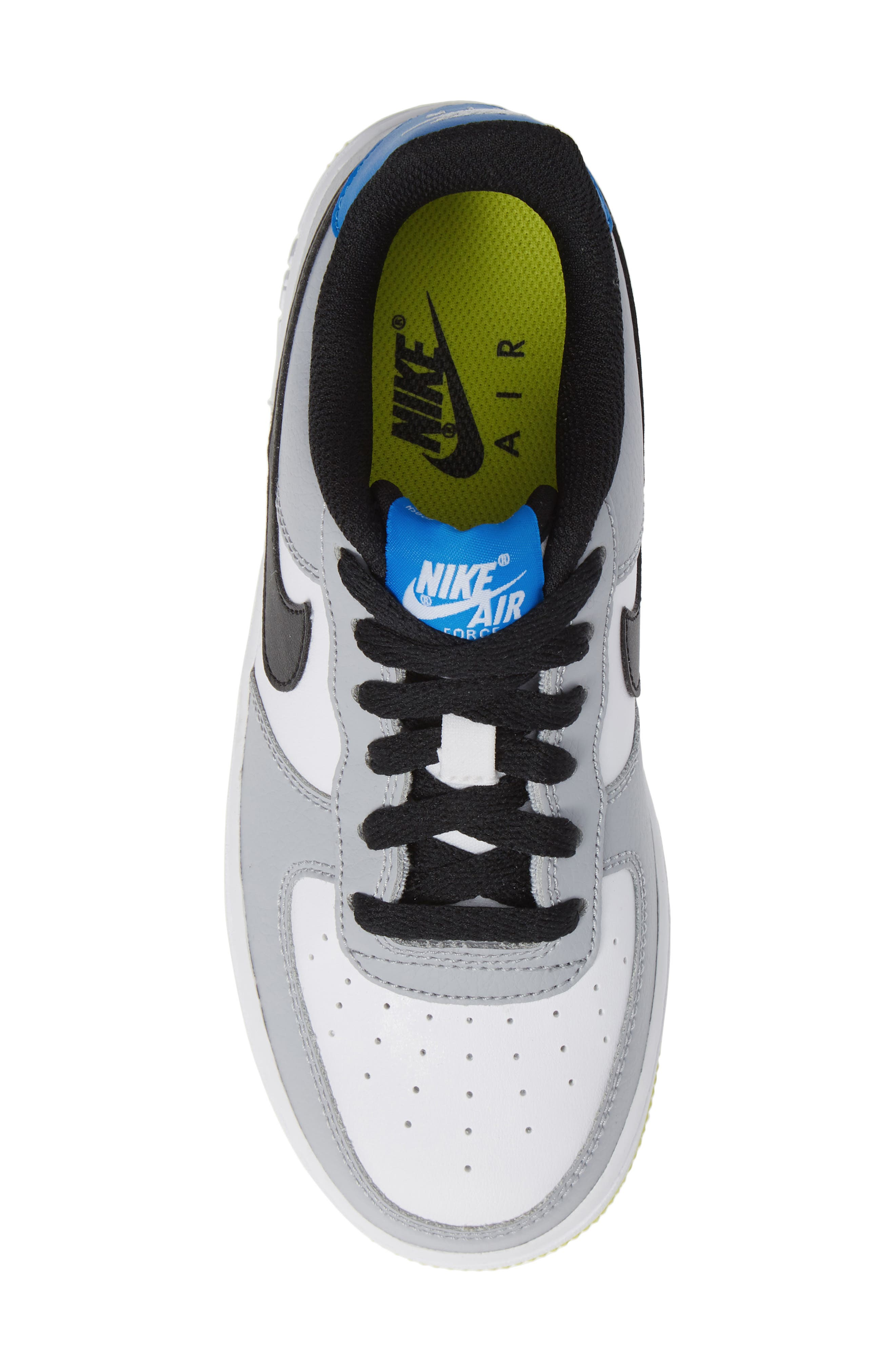 Air Force 1 Sneaker,                             Alternate thumbnail 4, color,                             Wolf Grey/ Black/ White/ Blue
