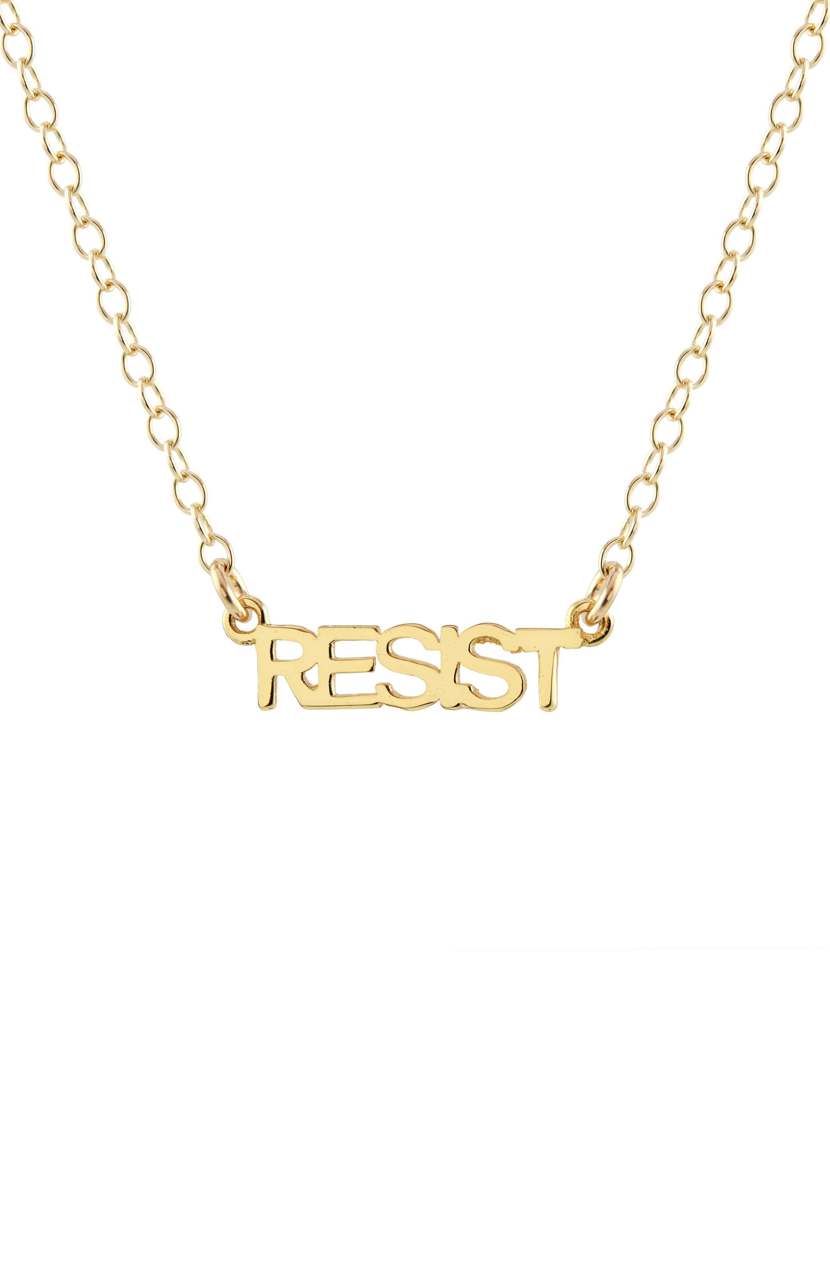 Resist Script Necklace,                             Main thumbnail 1, color,                             Gold