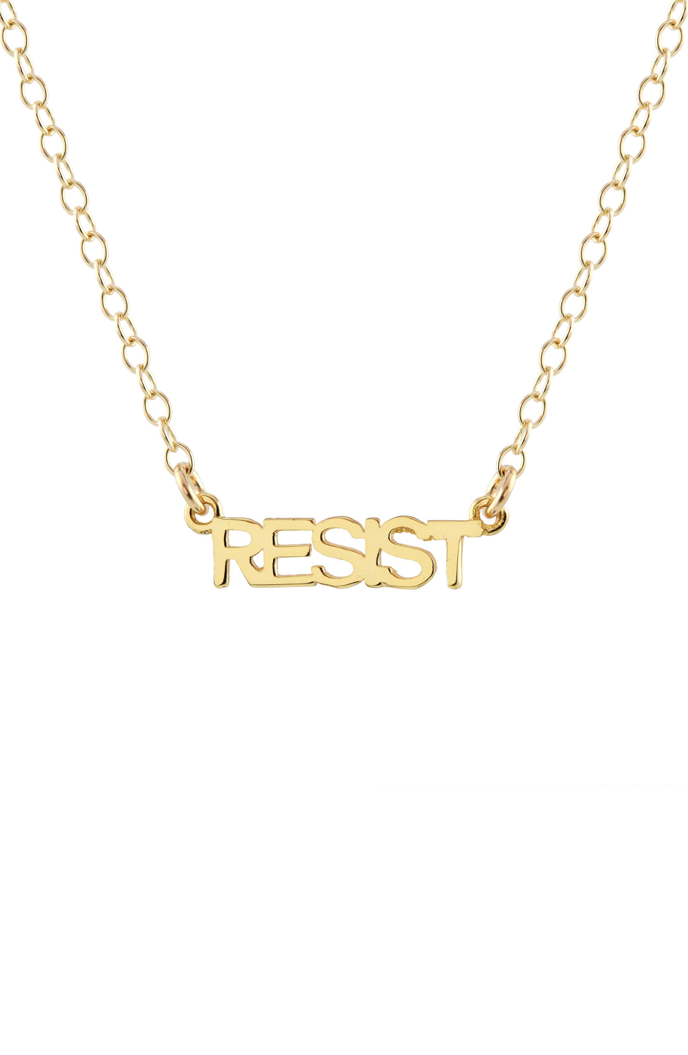 Resist Script Necklace,                         Main,                         color, Gold