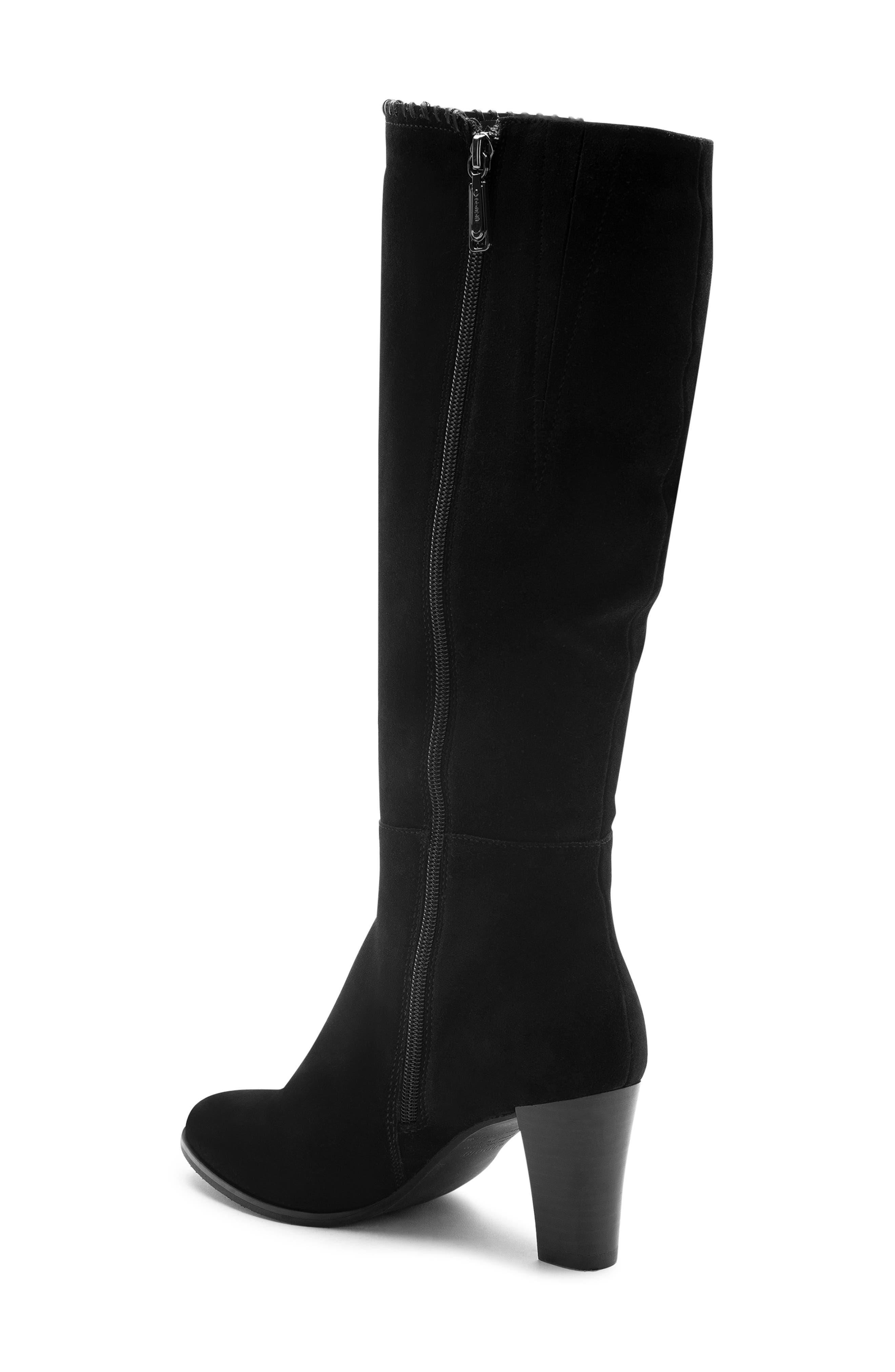 Edith Knee-High Waterproof Suede Boot,                             Alternate thumbnail 2, color,                             Black Suede