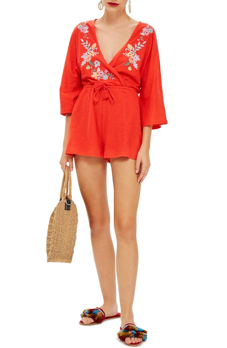 Embroidered Jersey Romper