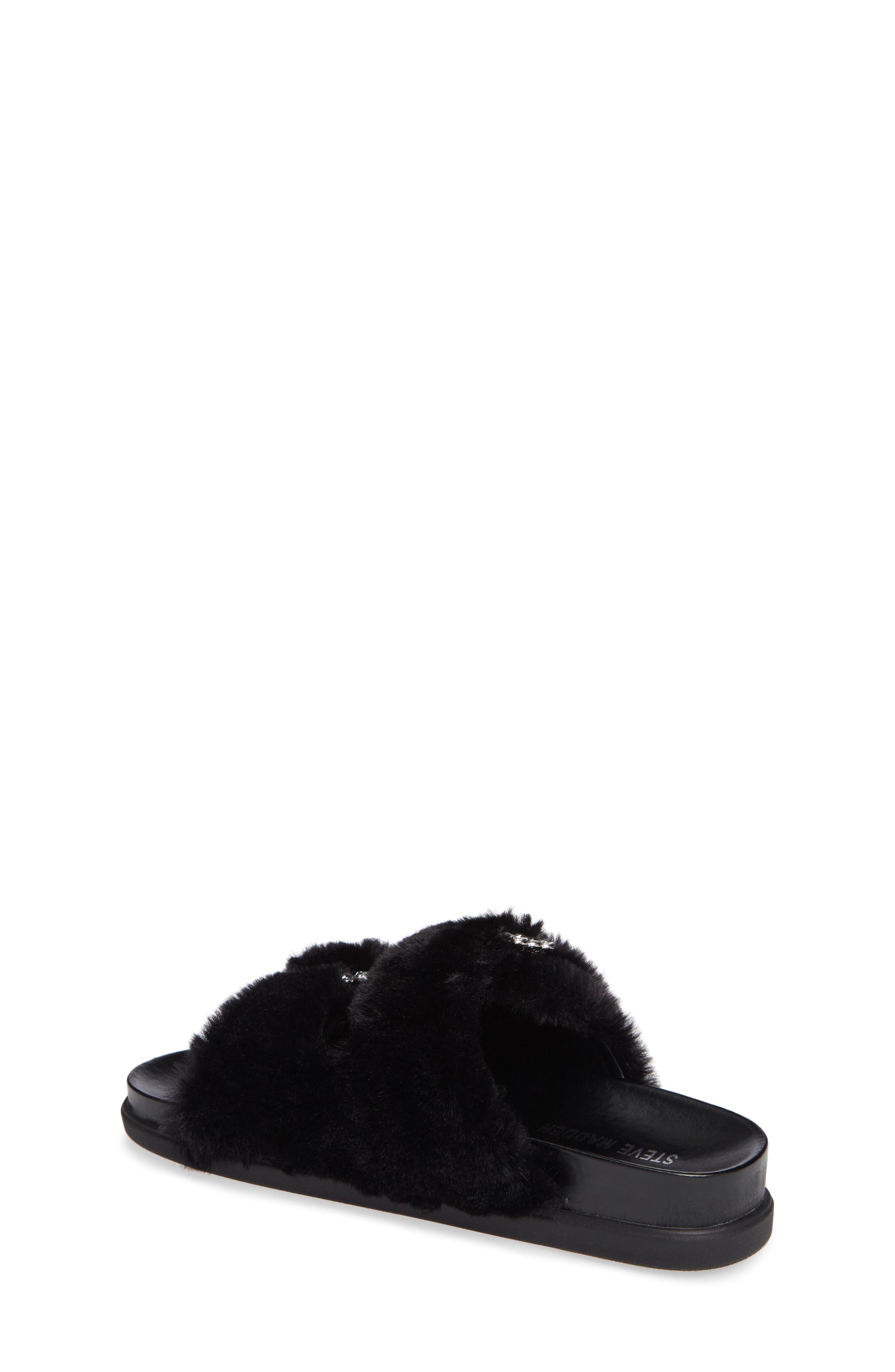 Faux Fur Slide Sandal,                             Alternate thumbnail 2, color,                             Black