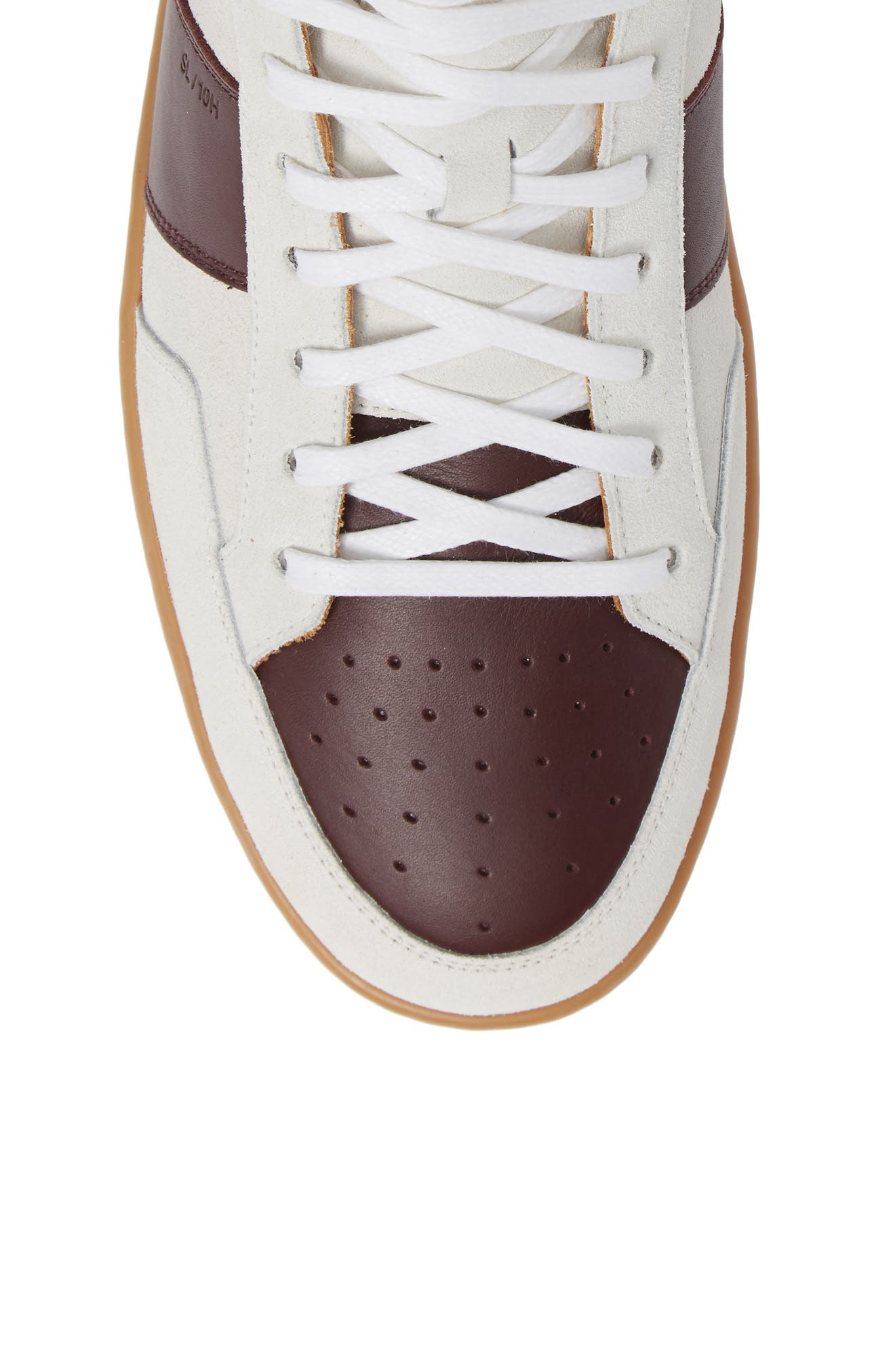 SL/10H Signature Court Classic High-Top Sneaker,                             Alternate thumbnail 5, color,                             Milk/ Barolo