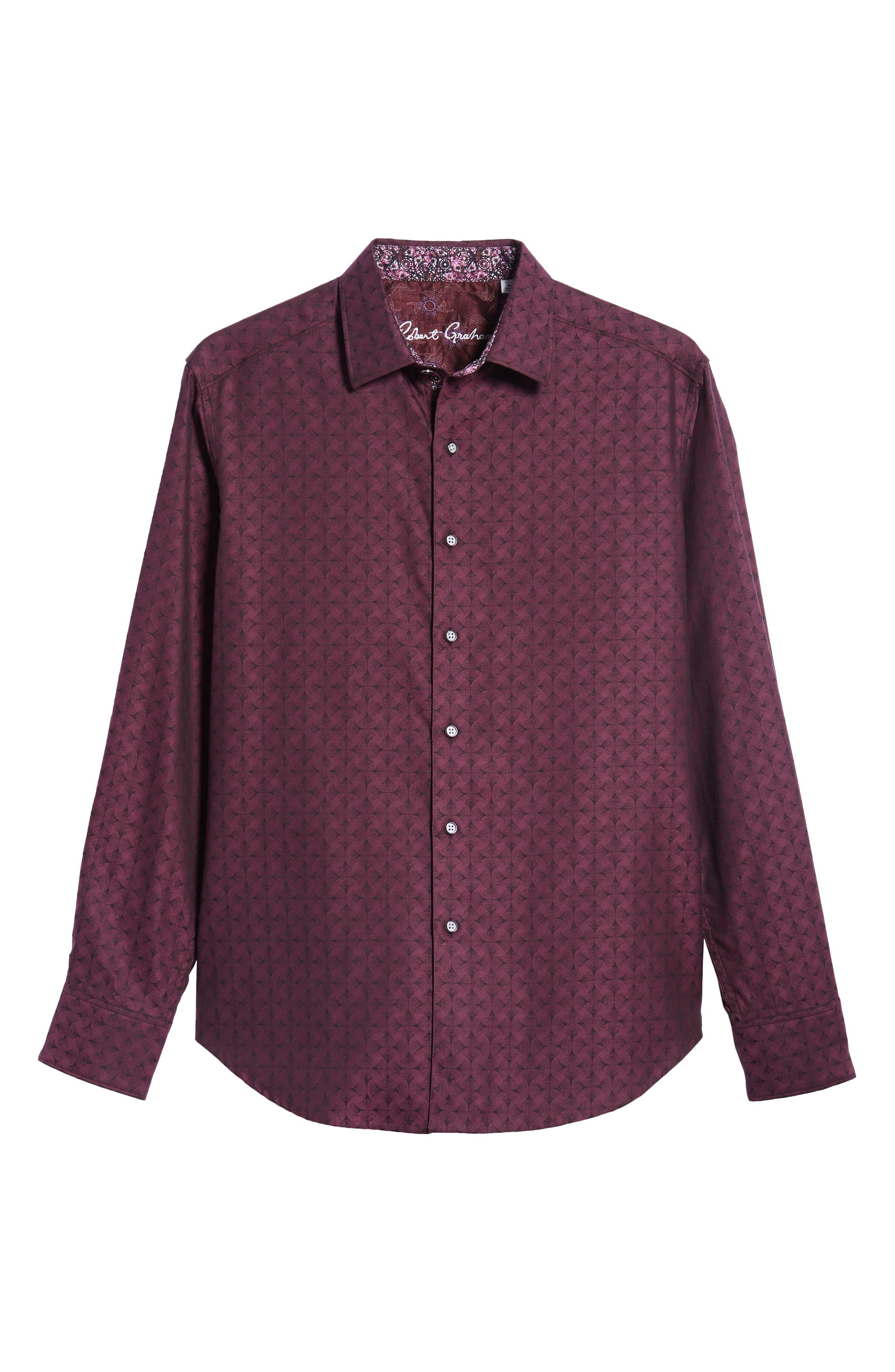 Diamante Classic Fit Print Sport Shirt,                             Alternate thumbnail 5, color,                             Berry