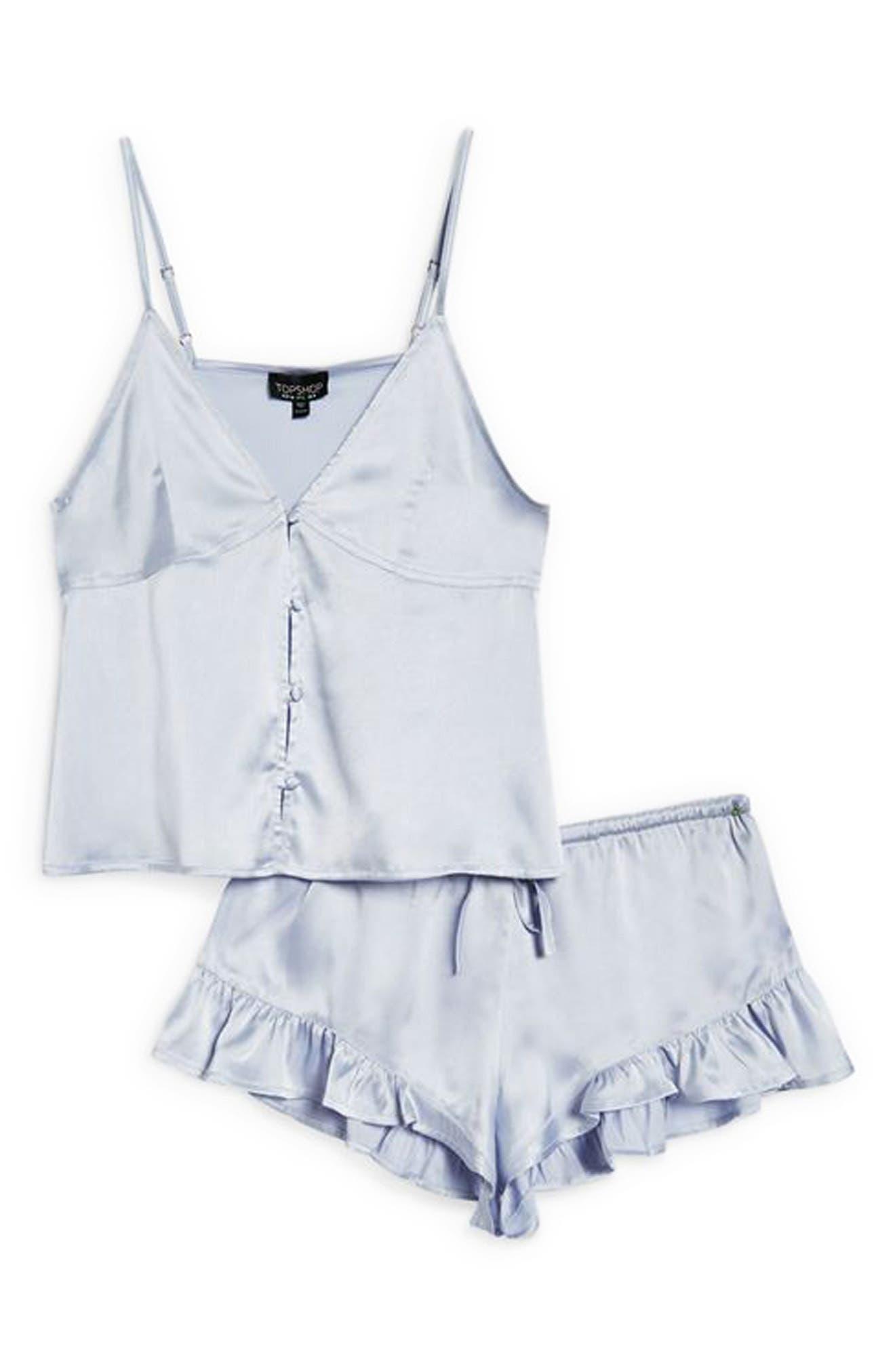 Lucina Satin Short Pajamas,                             Alternate thumbnail 4, color,                             Light Blue
