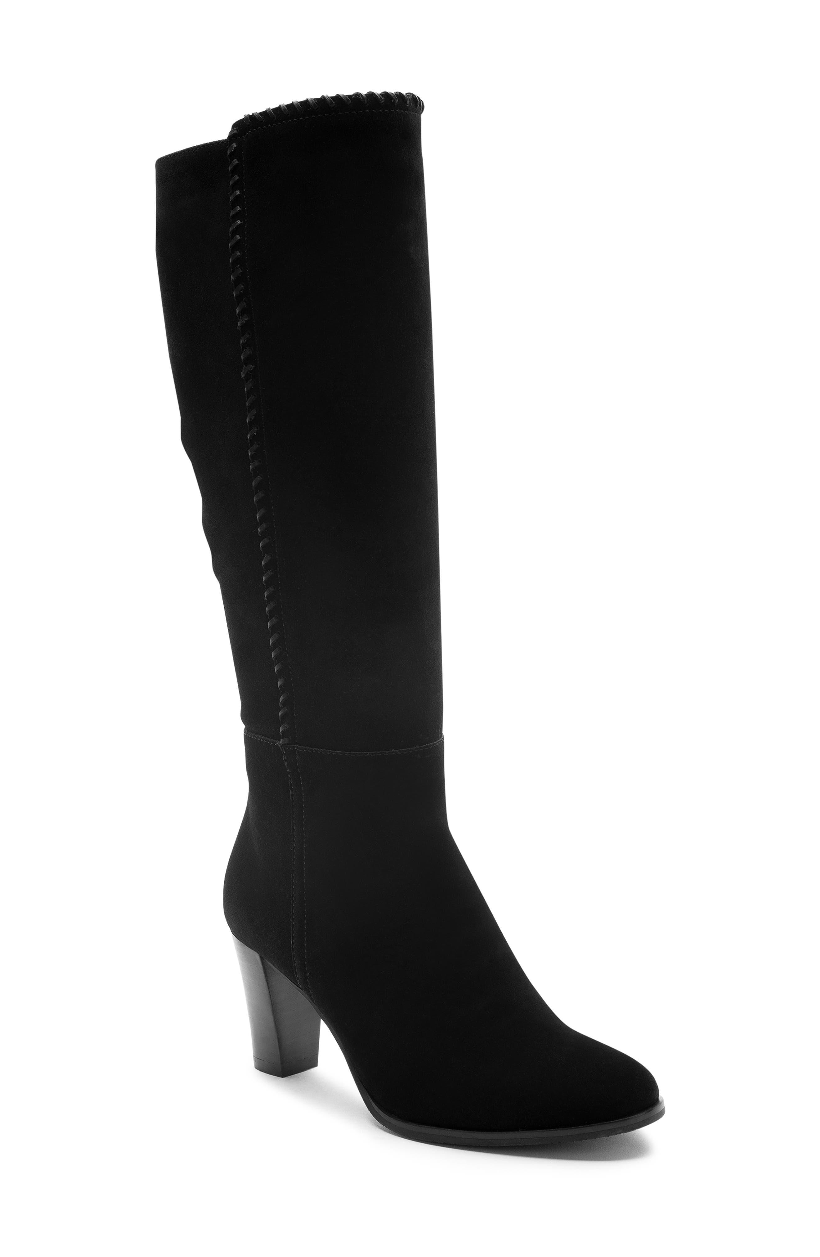 Edith Knee-High Waterproof Suede Boot,                             Main thumbnail 1, color,                             Black Suede