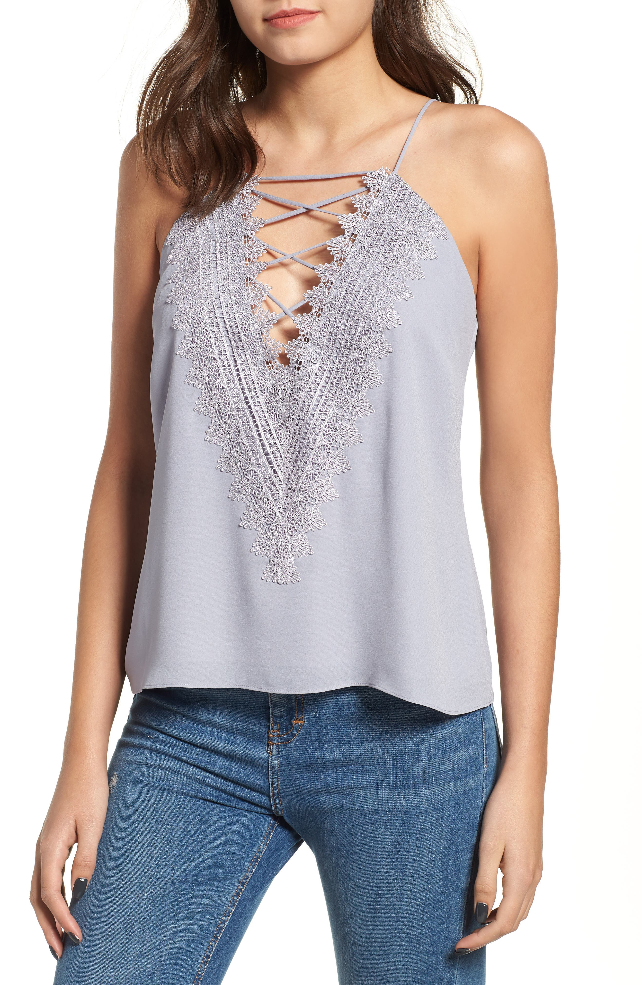 Posie Strappy Camisole,                             Main thumbnail 1, color,                             Grey Lilac