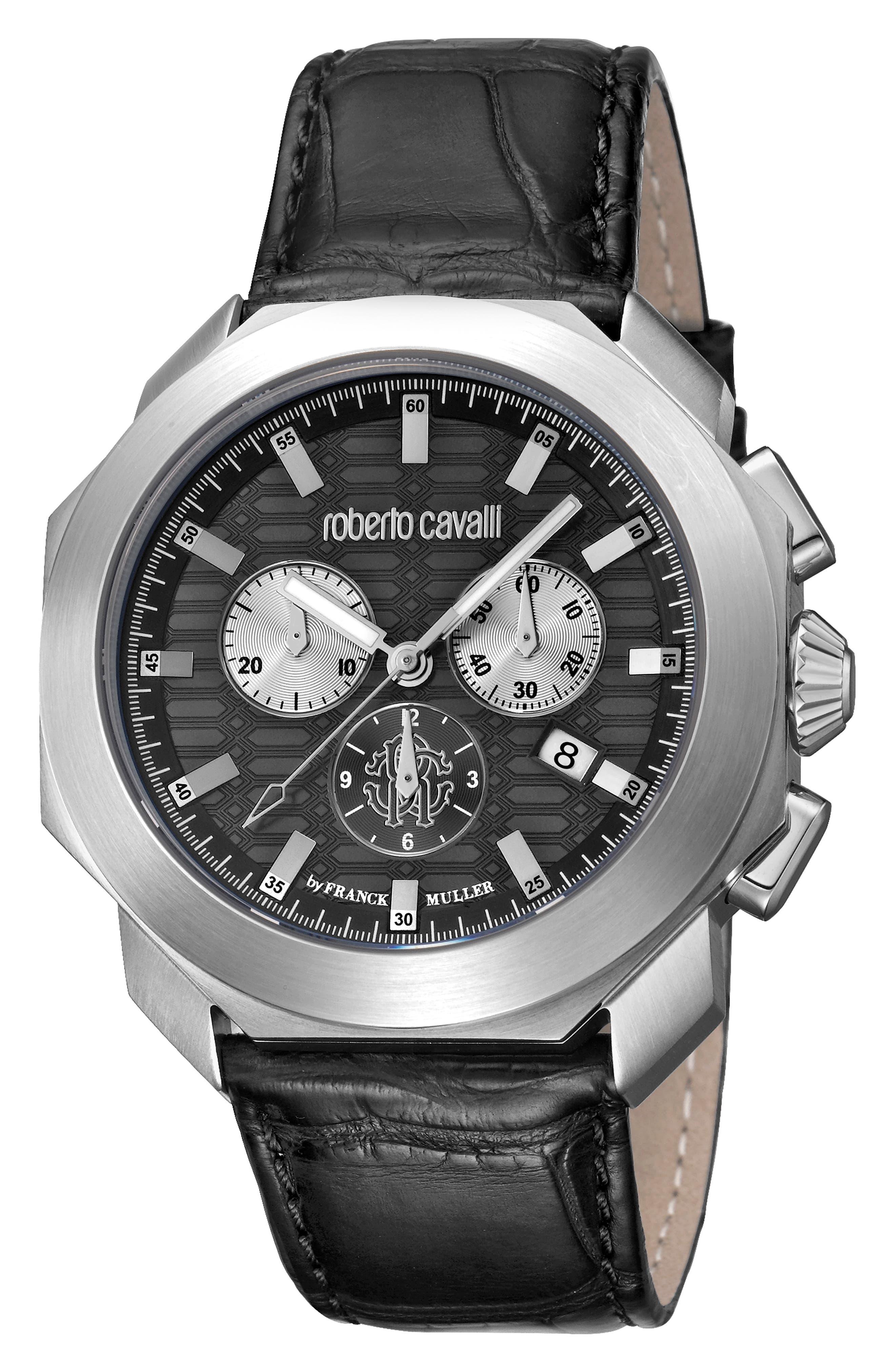 Sport Chronograph Leather Strap Watch,                             Main thumbnail 1, color,                             Black/ Silver/ Black