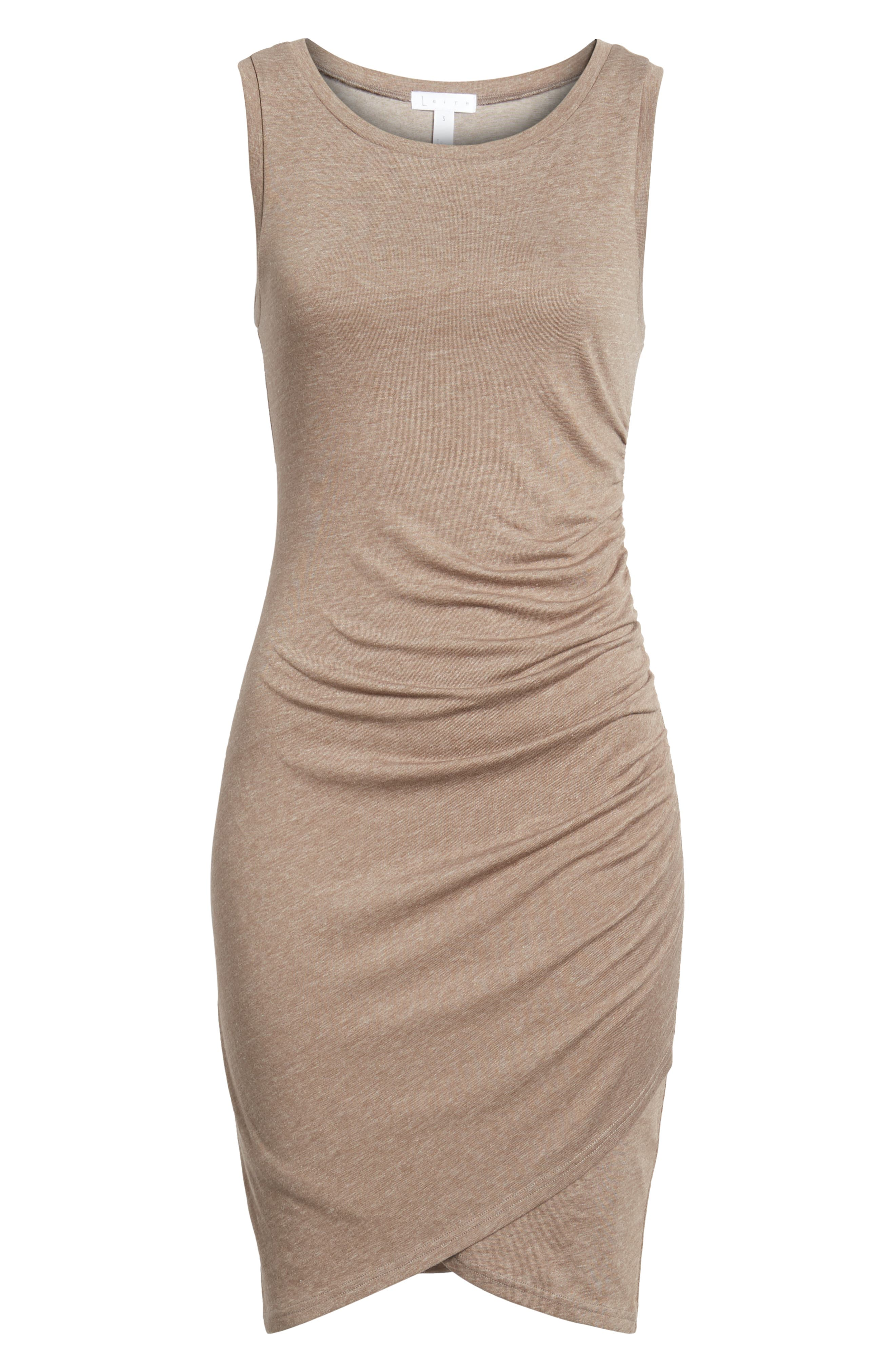 Ruched Body-Con Tank Dress,                             Alternate thumbnail 11, color,                             Tan Dusk Heather