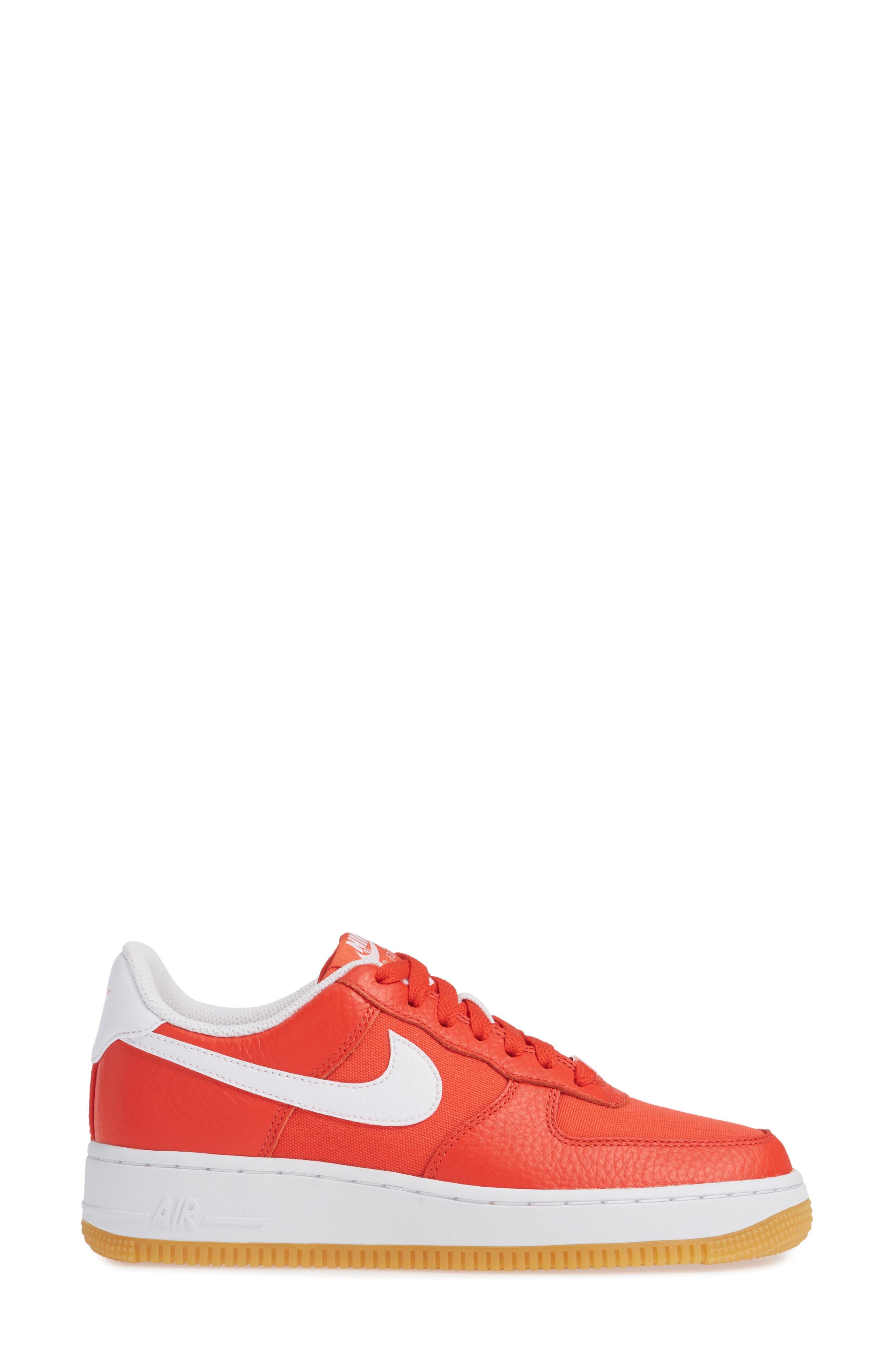 Air Force 1 '07 Premium Sneaker,                             Alternate thumbnail 3, color,                             Red/ White/ Light Brown