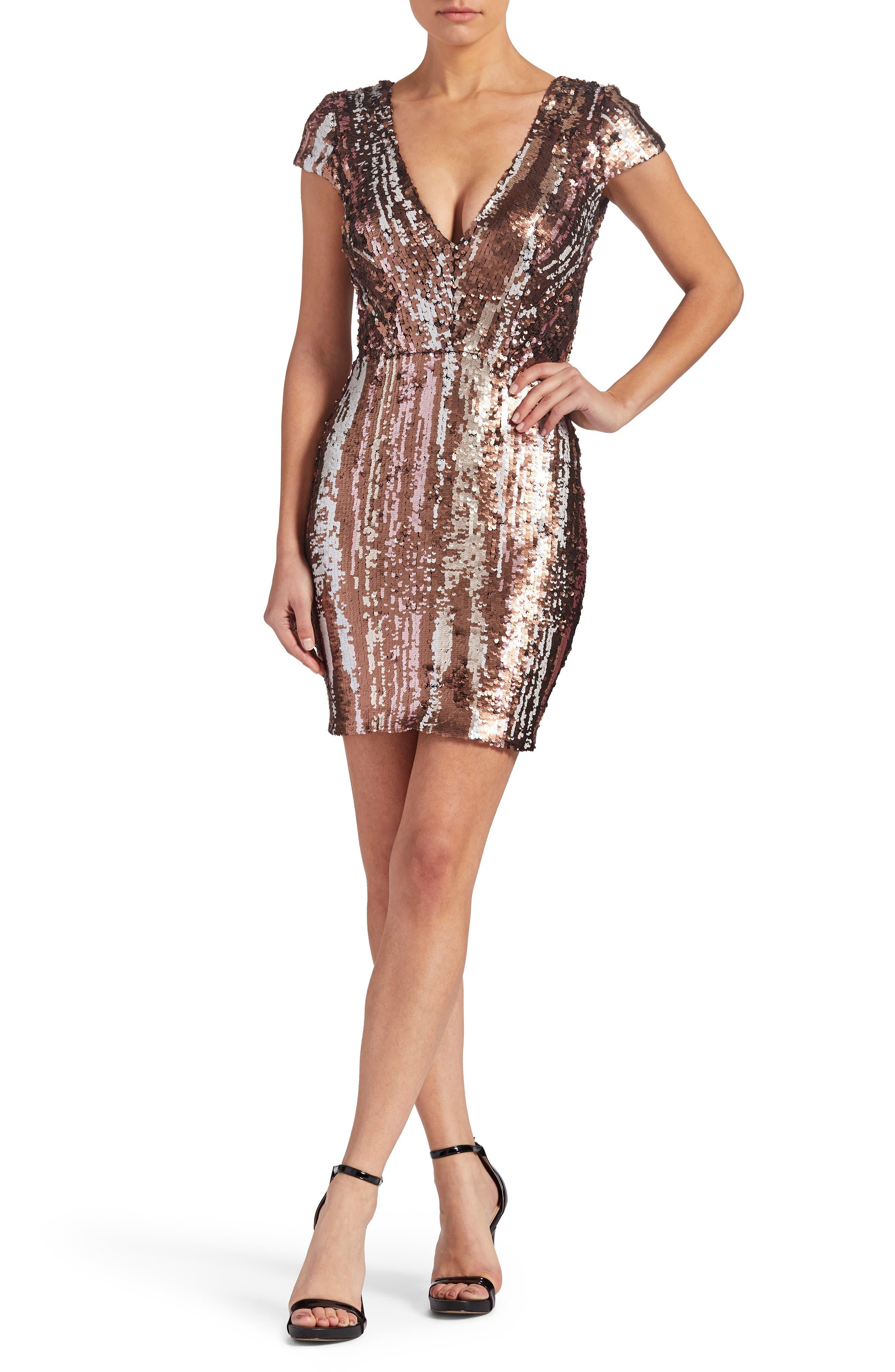 Zoe Sequin Minidress,                         Main,                         color, Matte Bronze Multi