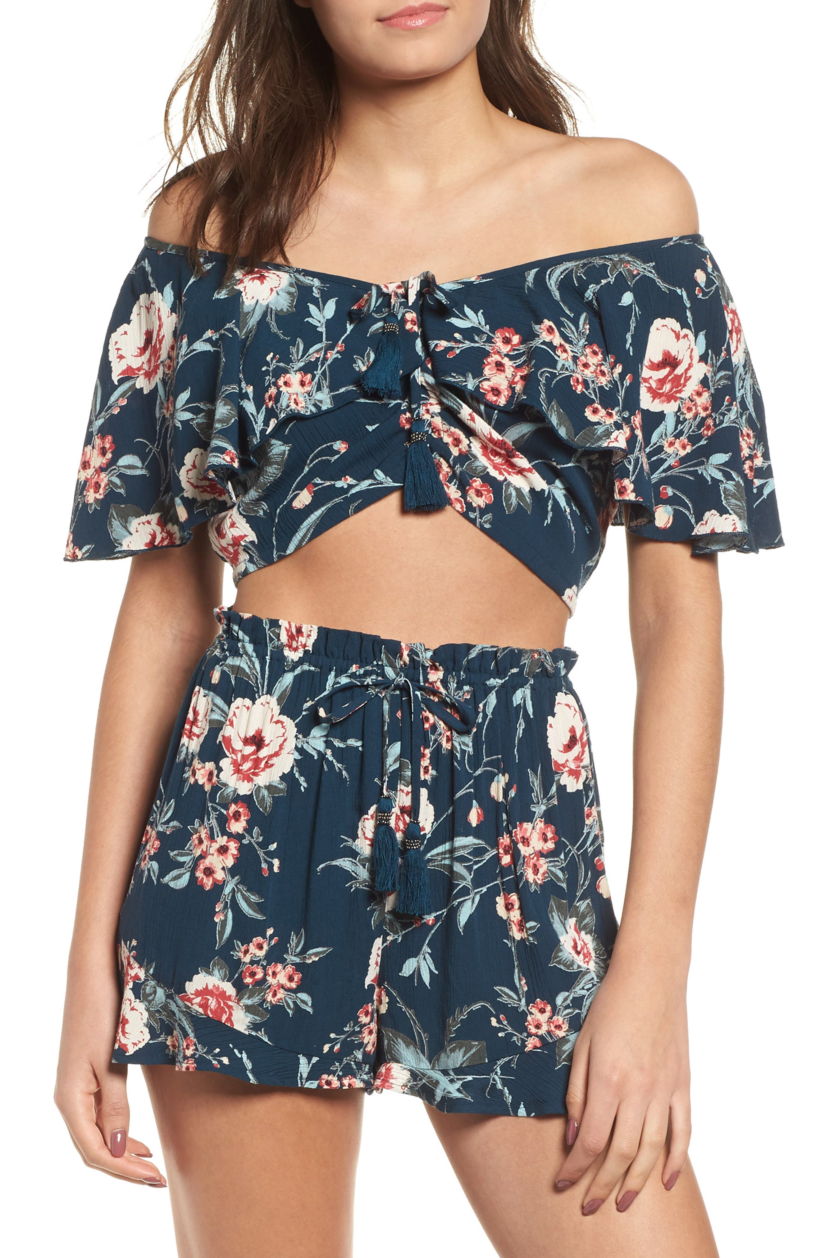 BAND OF GYPSIES ALMA FLORAL PRINT OFF THE SHOULDER TOP