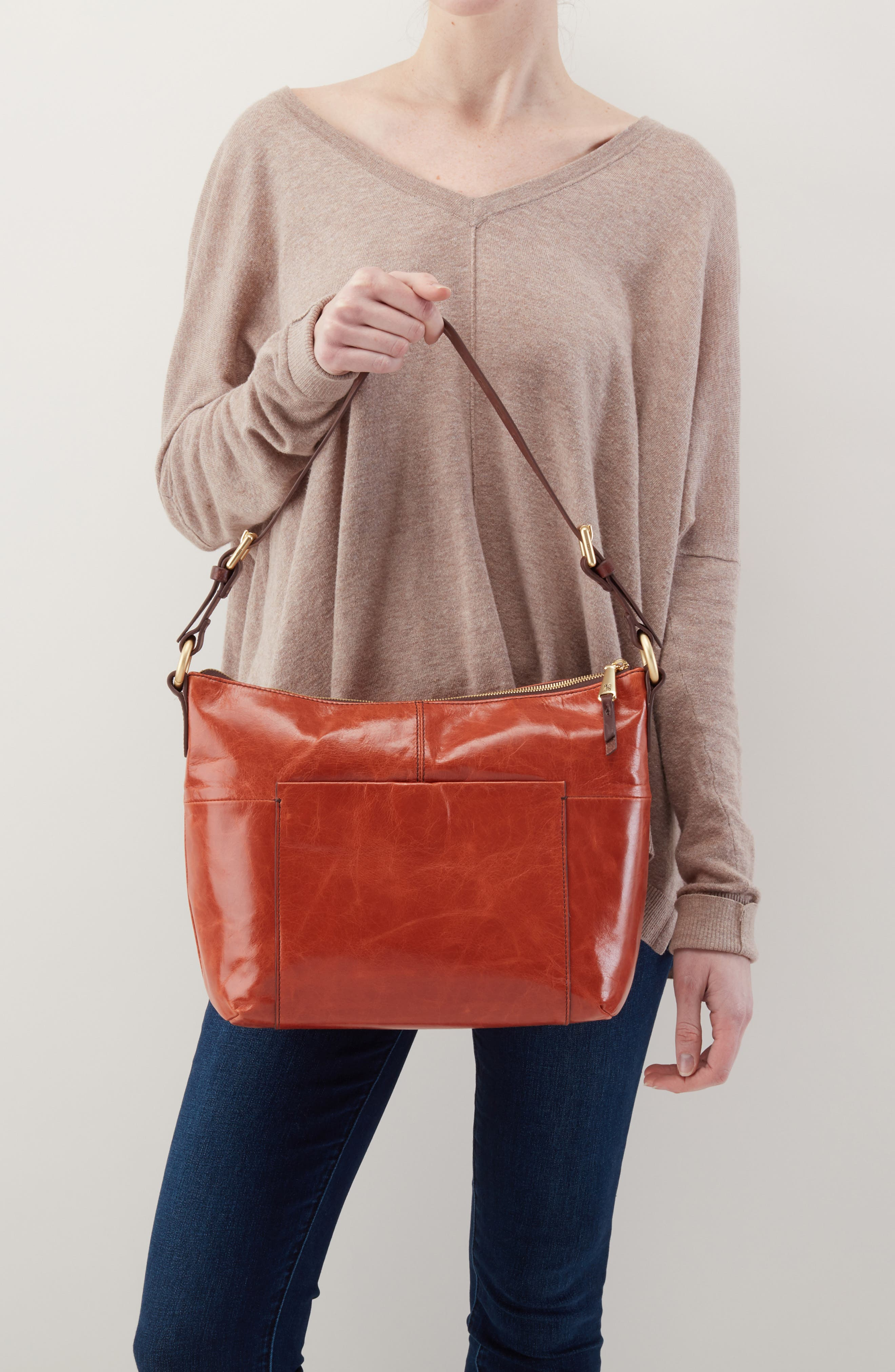 'Charlie' Leather Shoulder Bag,                             Alternate thumbnail 2, color,                             Clay