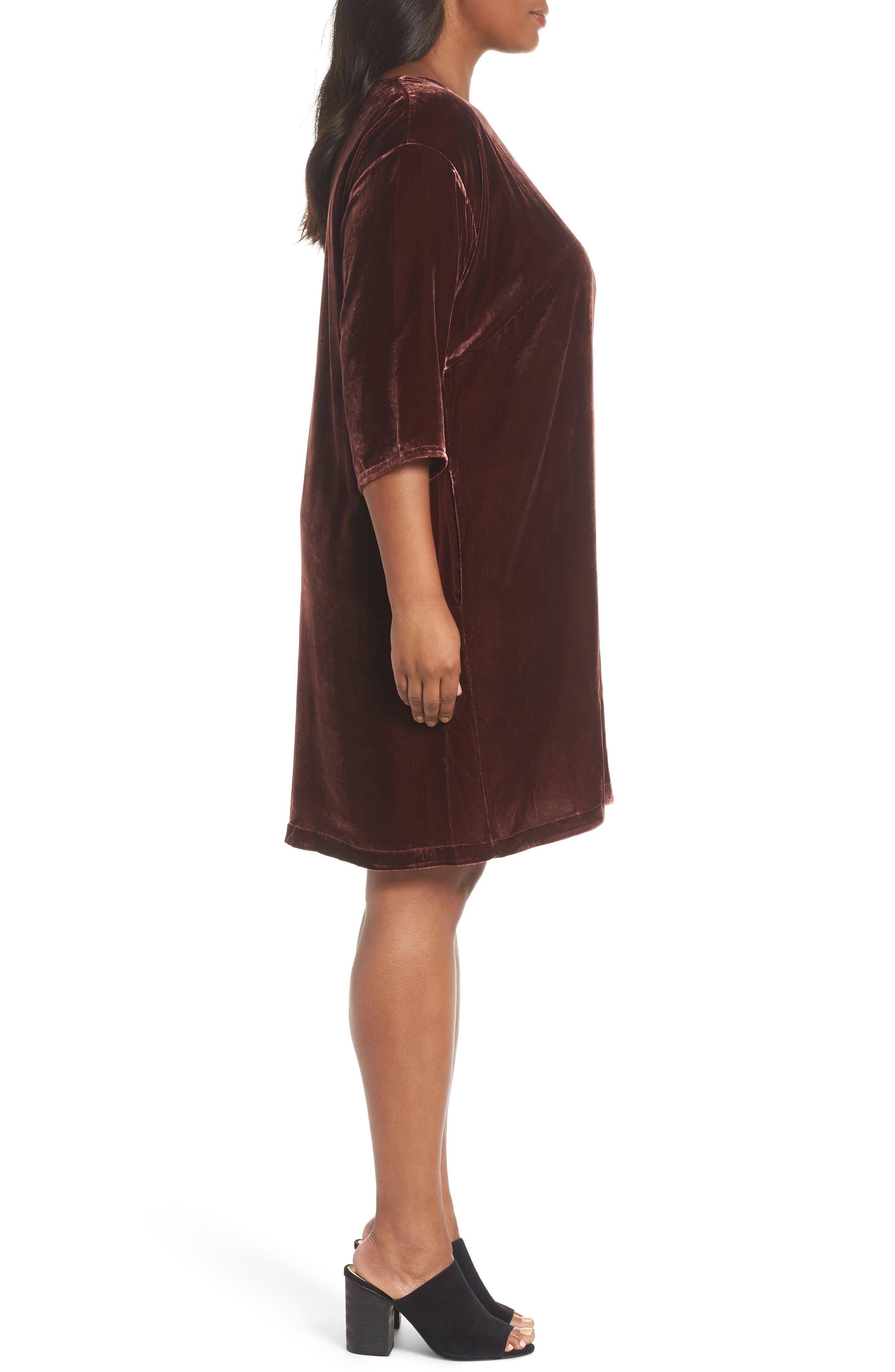 Velvet Shift Dress,                             Alternate thumbnail 6, color,                             Dark Monterey