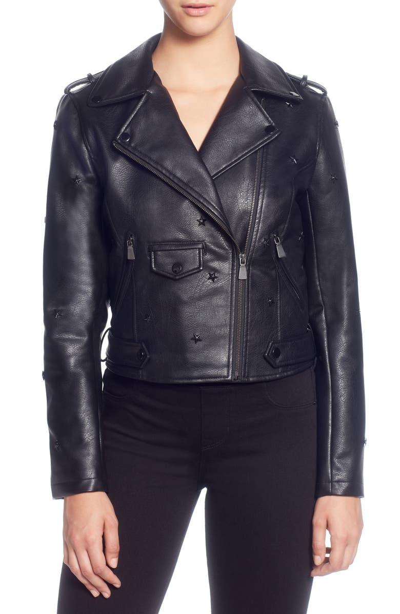 Star Stud Faux Leather Moto Jacket
