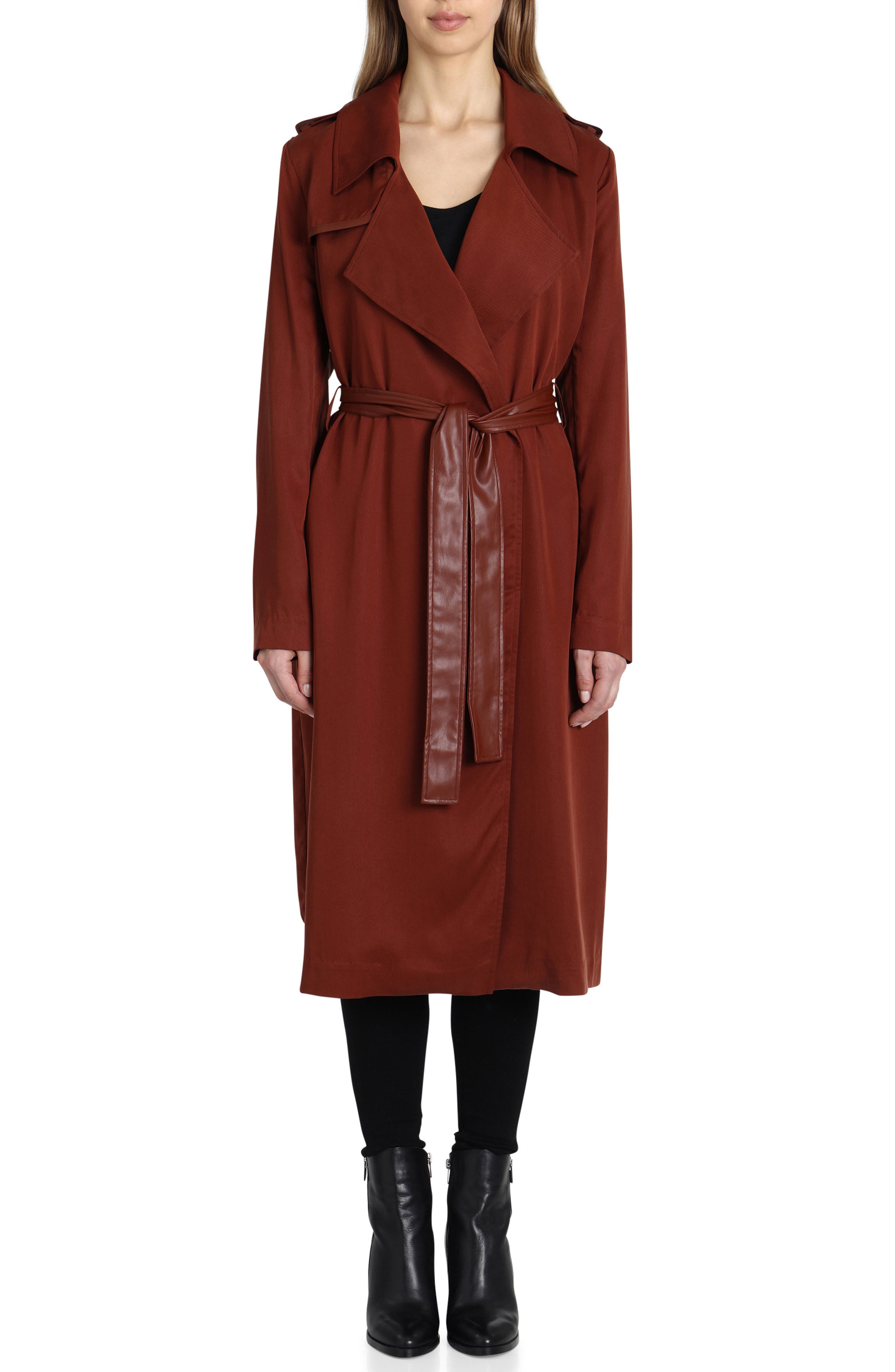Faux Leather Trim Long Trench Coat,                             Main thumbnail 1, color,                             Sahara