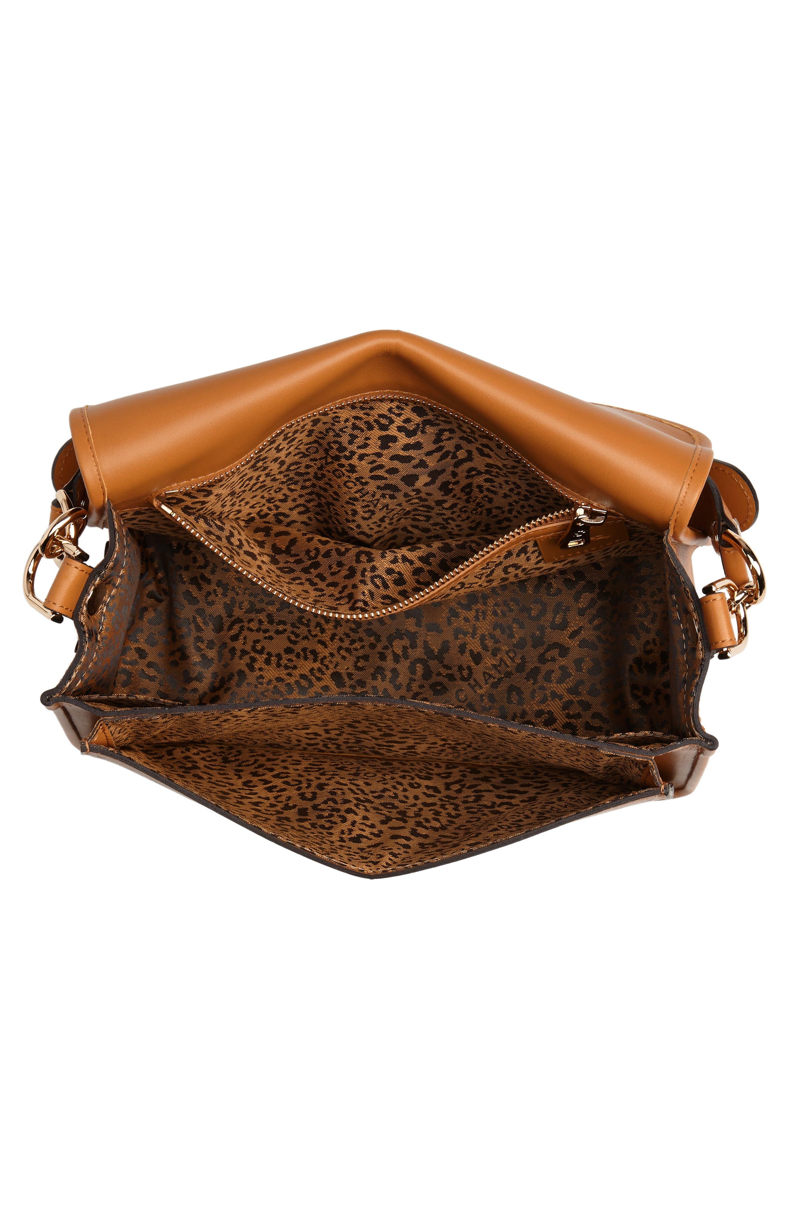 Mademoiselle Calfskin Leather Crossbody Bag,                             Alternate thumbnail 4, color,                             Honey