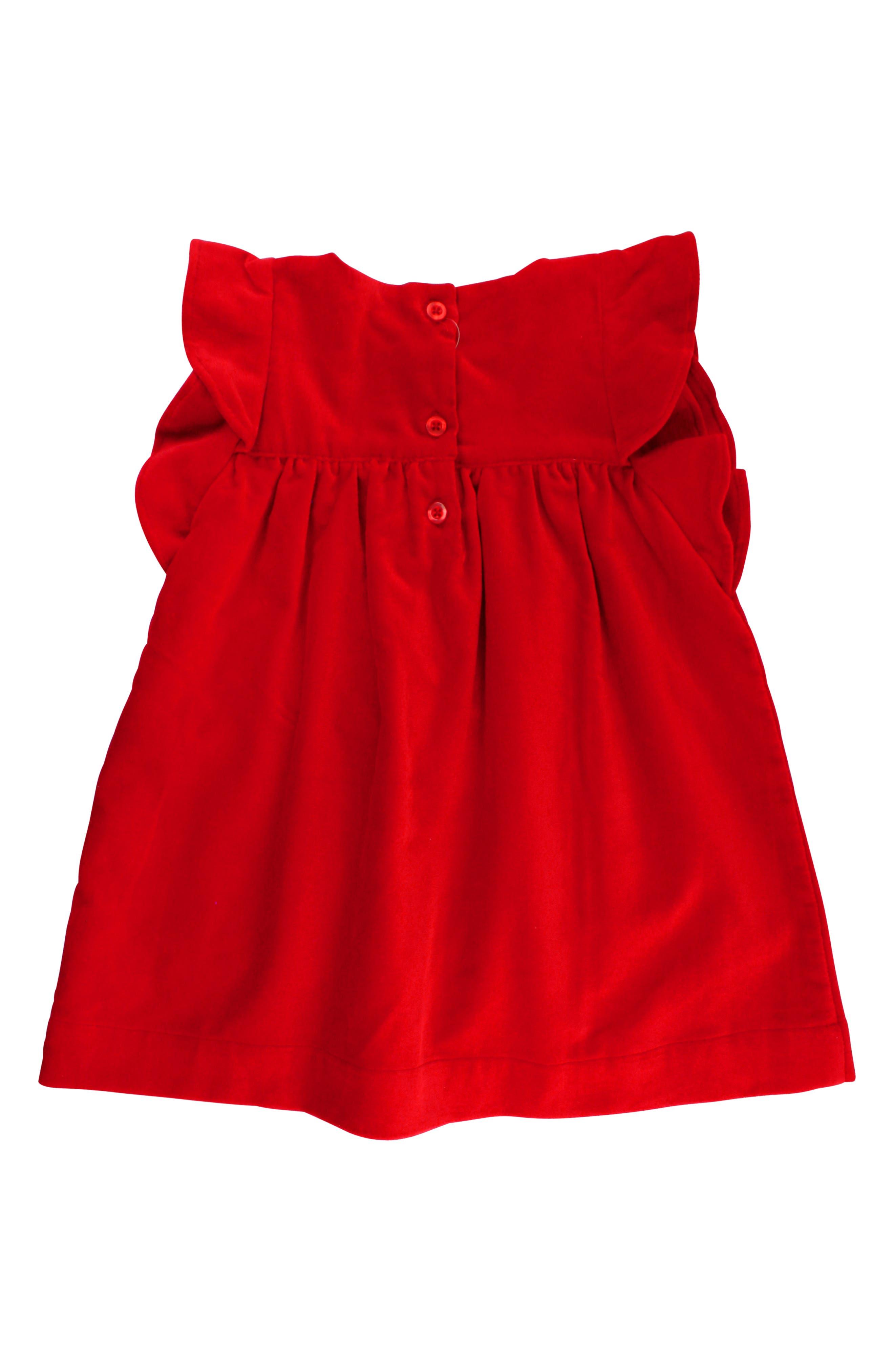 Velvet Dress & Bow Head Wrap Set,                             Alternate thumbnail 2, color,                             Red