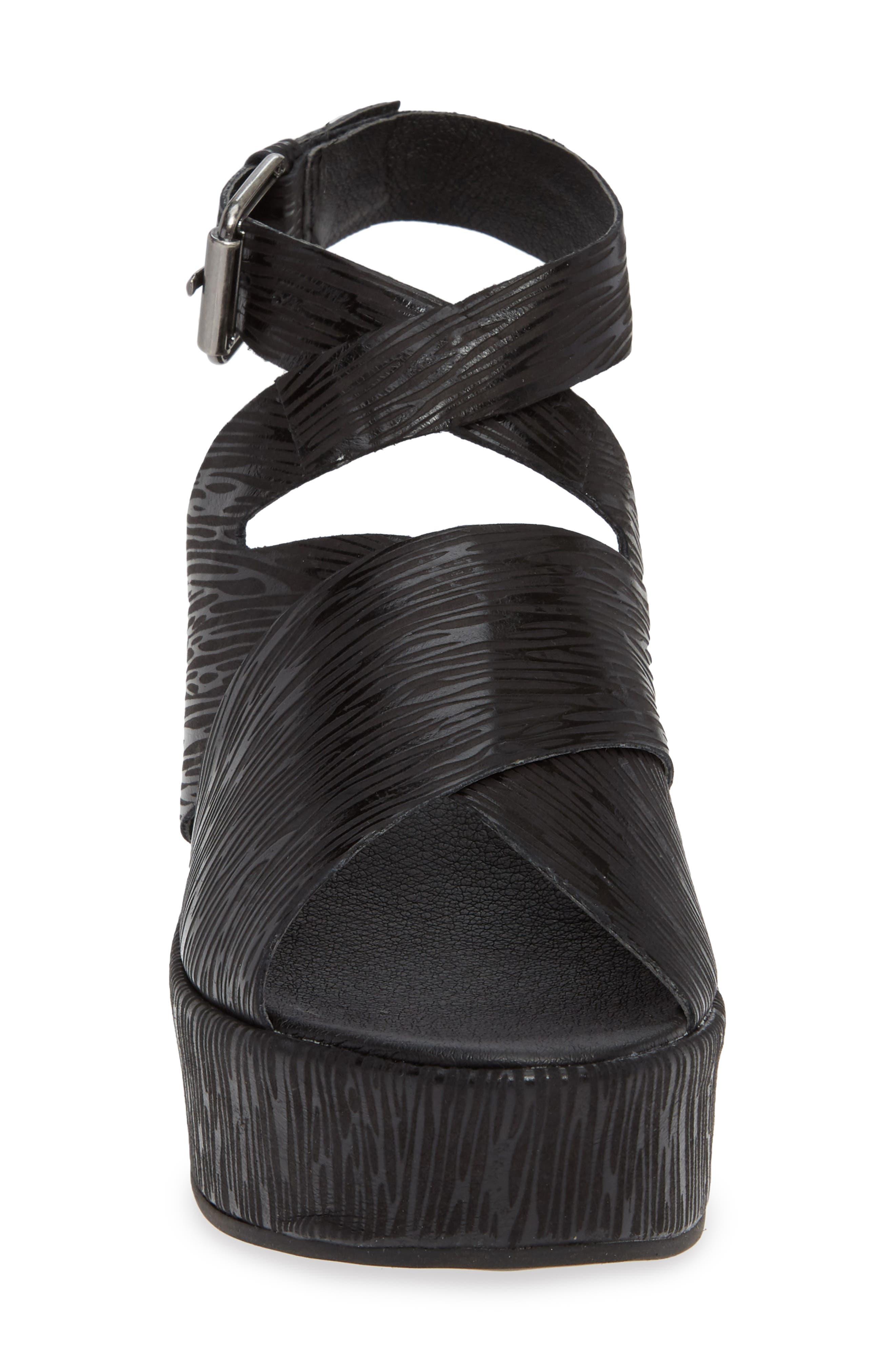 Runway Wedge Sandal,                             Alternate thumbnail 3, color,                             Black Lizard Print Leather