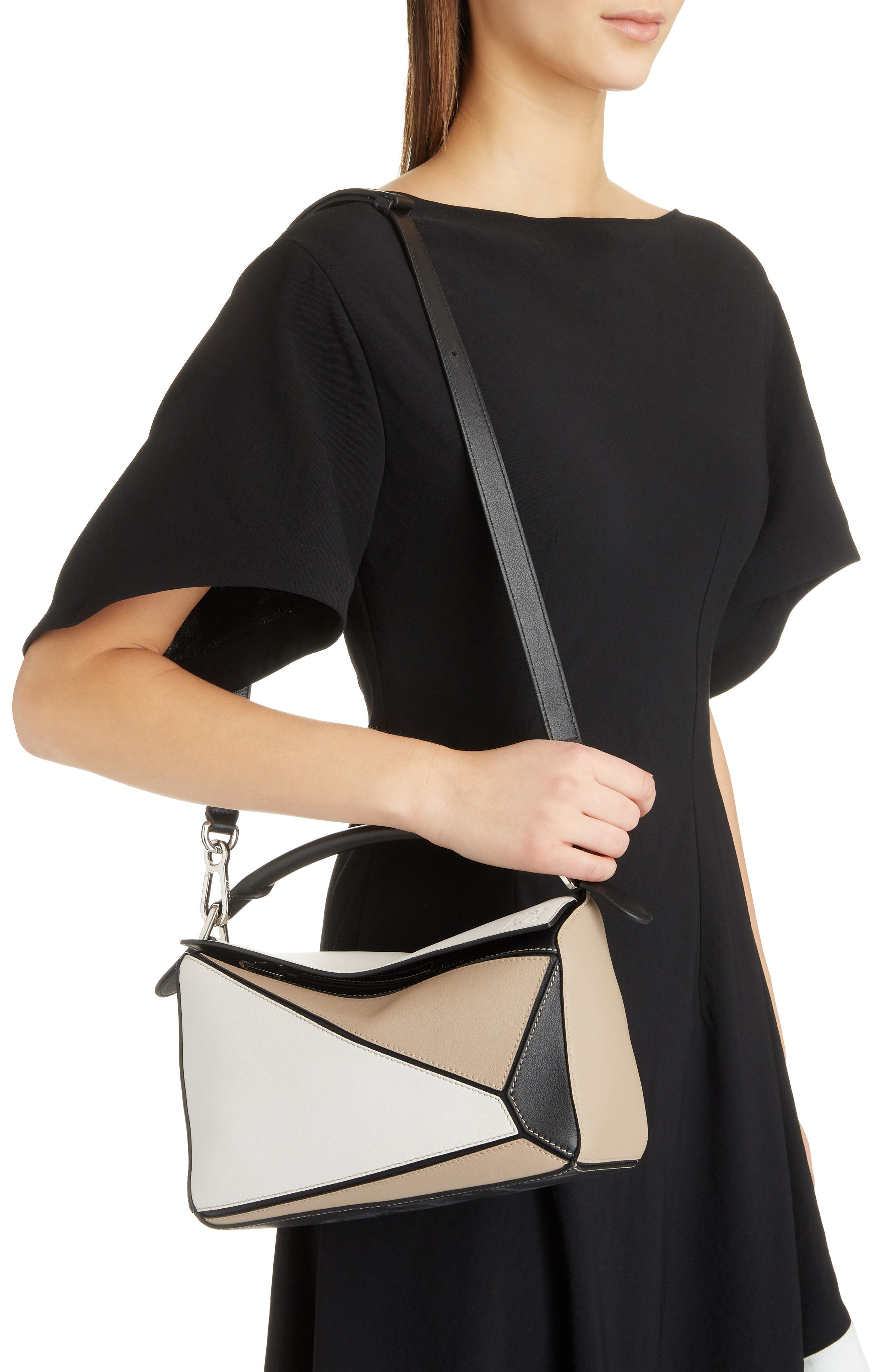 Puzzle Calfskin Leather Bag,                             Alternate thumbnail 2, color,                             Soft White/ Sand