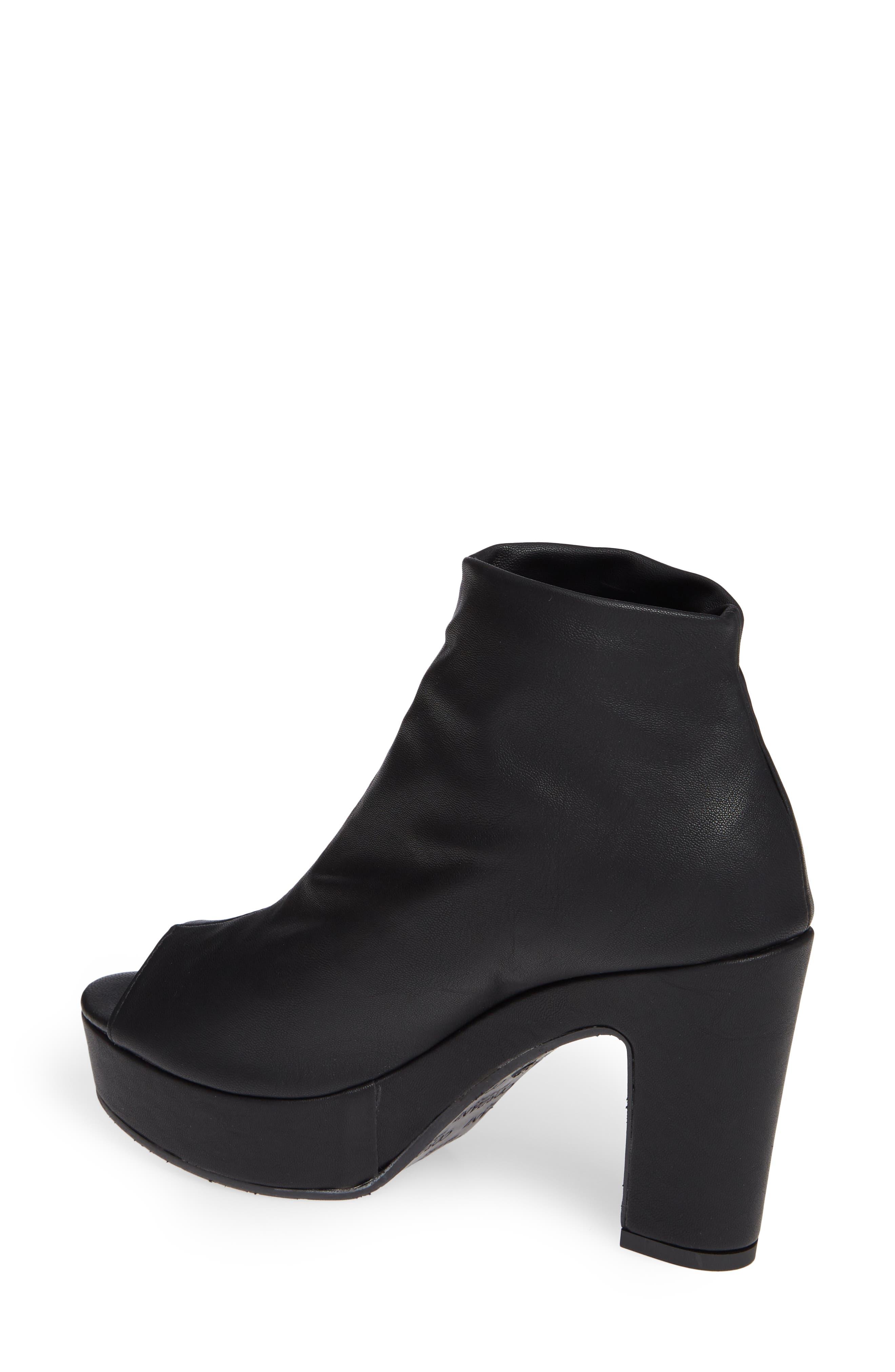 Tyra Peep Toe Platform Bootie,                             Alternate thumbnail 2, color,                             Black Fabric
