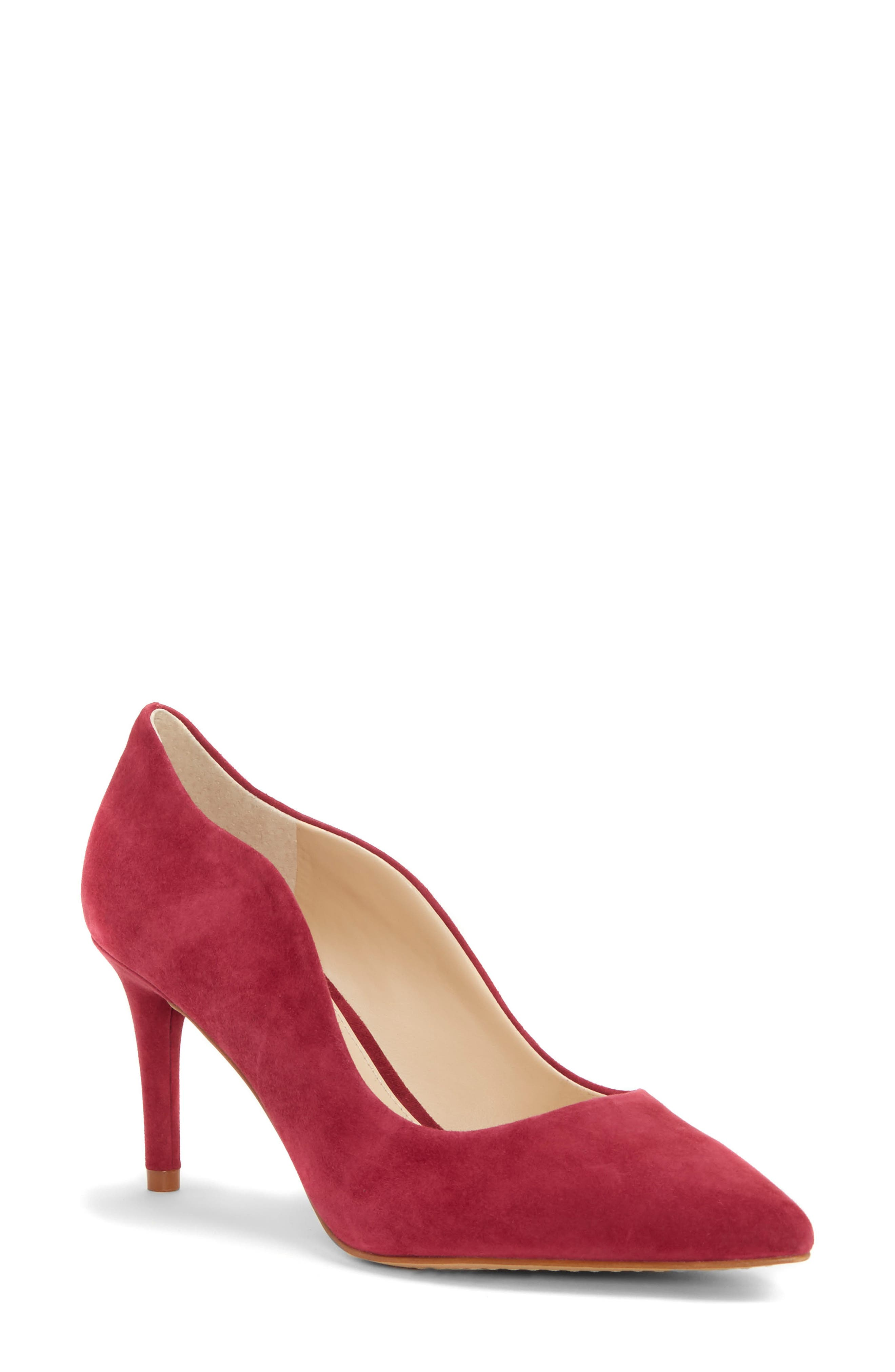 Jaynita Pointy Toe Pump,                             Main thumbnail 1, color,                             Sweet Berry Suede
