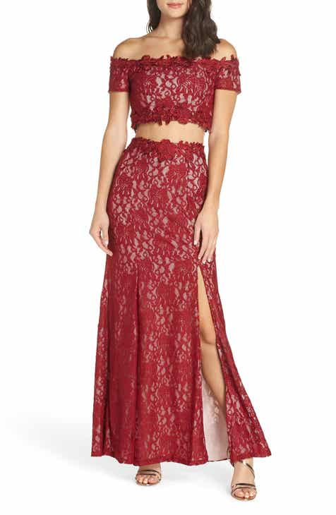 Sequin Hearts Two-Piece Off the Shoulder Lace Gown