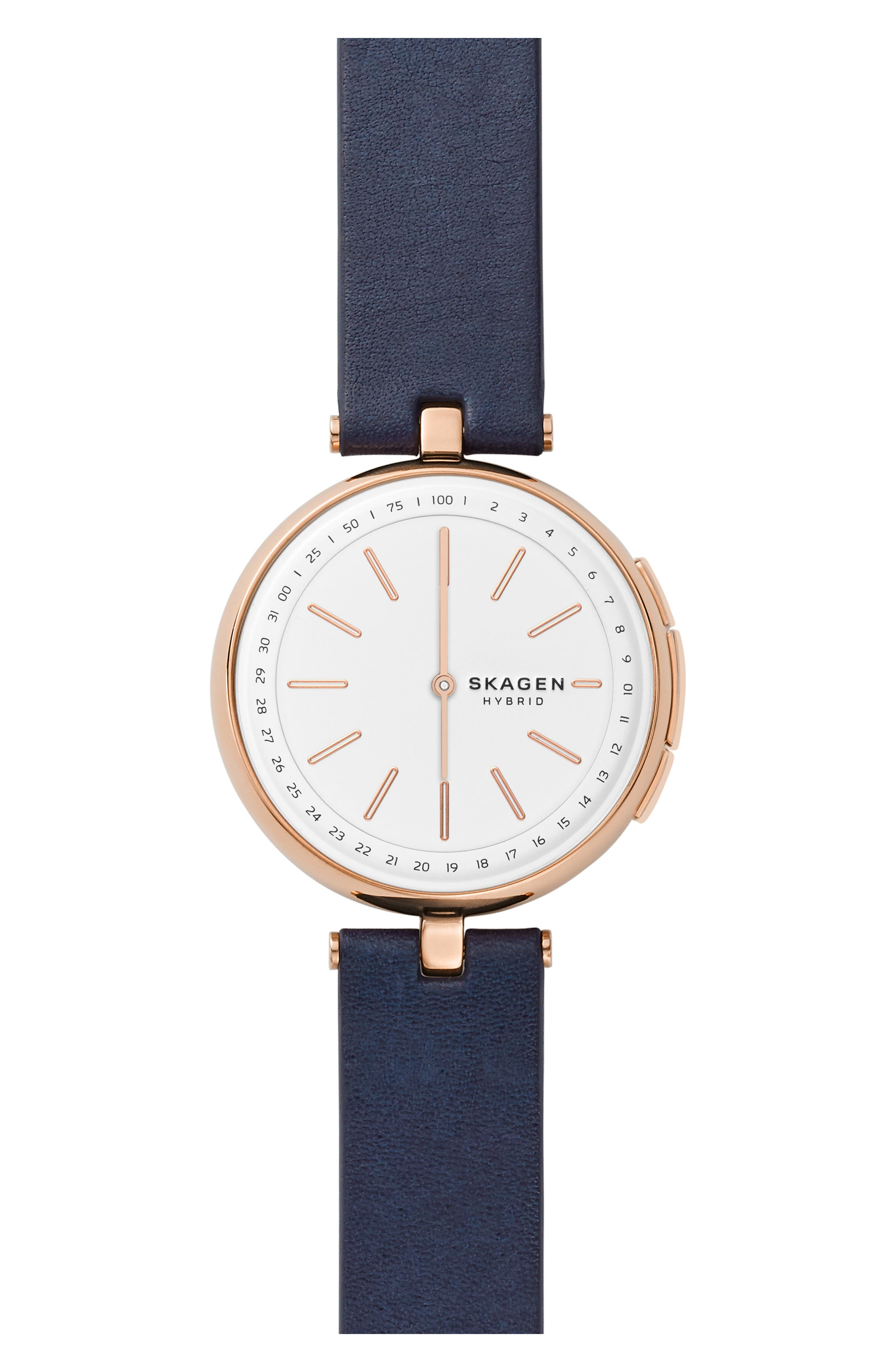 SKAGEN SIGNATUR CONNECTED T-BAR LEATHER STRAP HYBRID SMART WATCH, 36MM