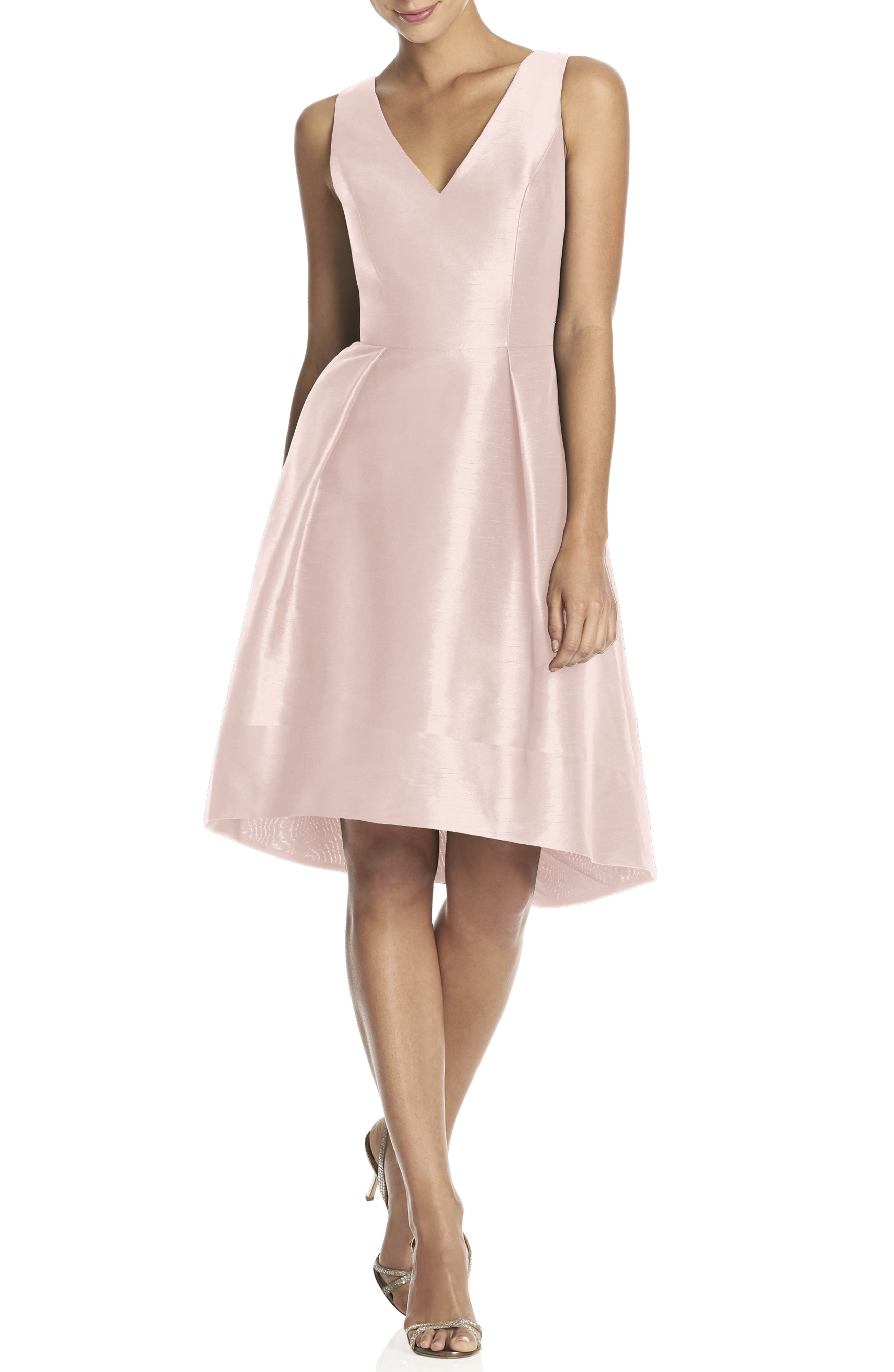 Satin High/Low Fit & Flare Dress,                             Main thumbnail 1, color,                             Pearl Pink