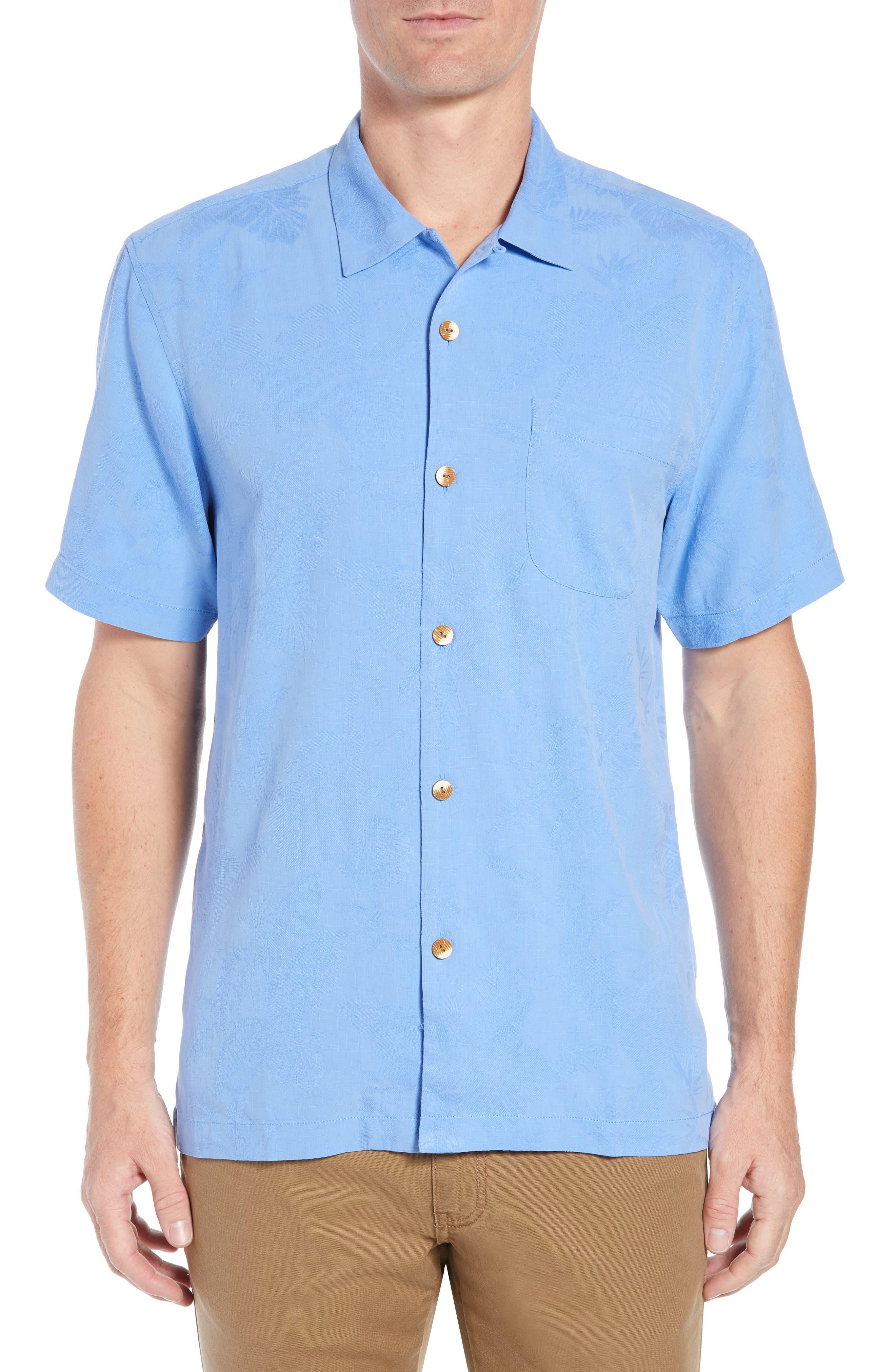 St Lucia Fronds Silk Camp Shirt,                             Main thumbnail 1, color,                             New Blue Opal