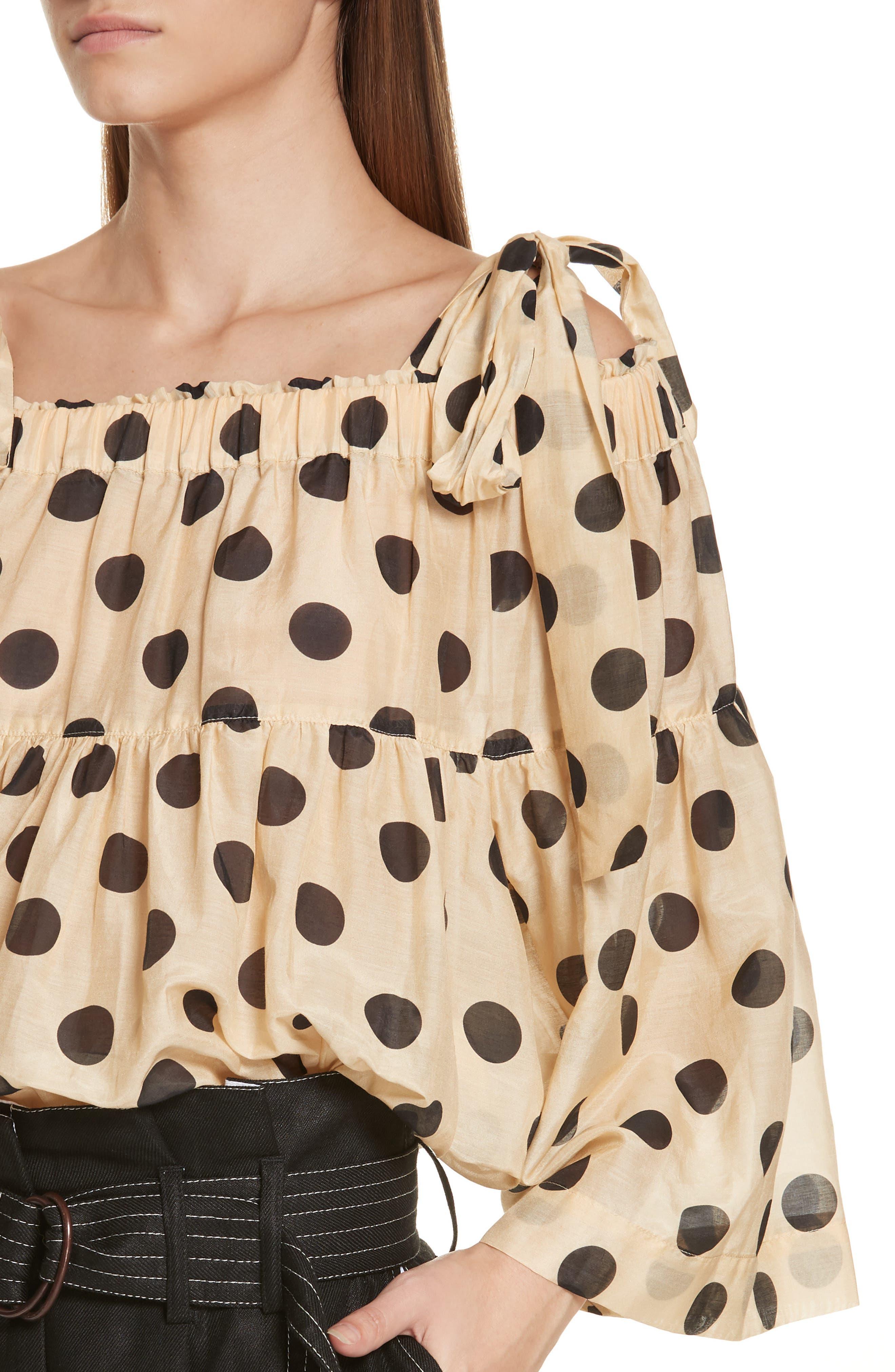 Minnie Polka Dot Cotton & Silk Cold Shoulder Top,                             Alternate thumbnail 4, color,                             Barley