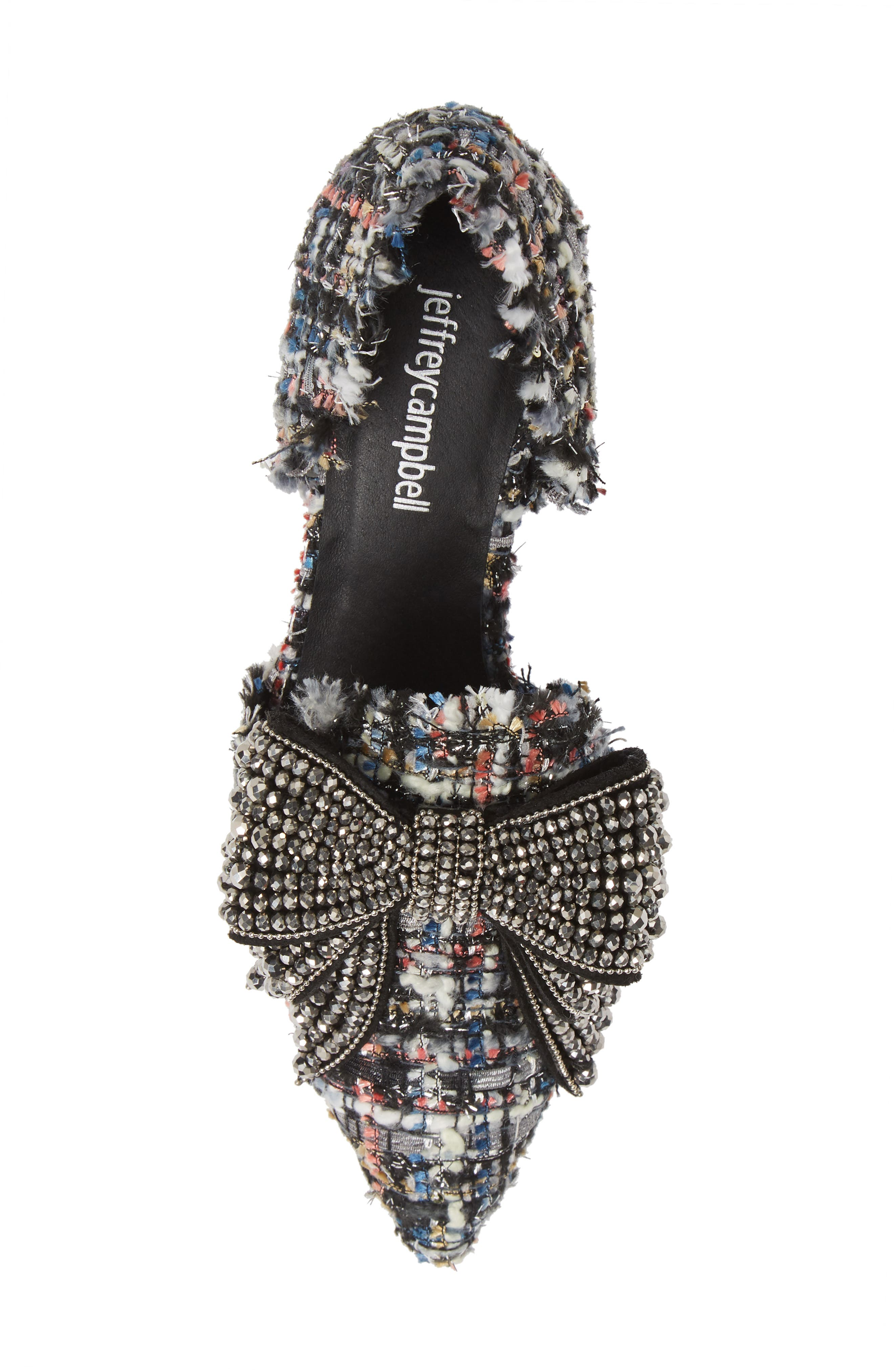 Valenti Embellished Bow Loafer,                             Alternate thumbnail 5, color,                             Black Multi Tweed Pewter
