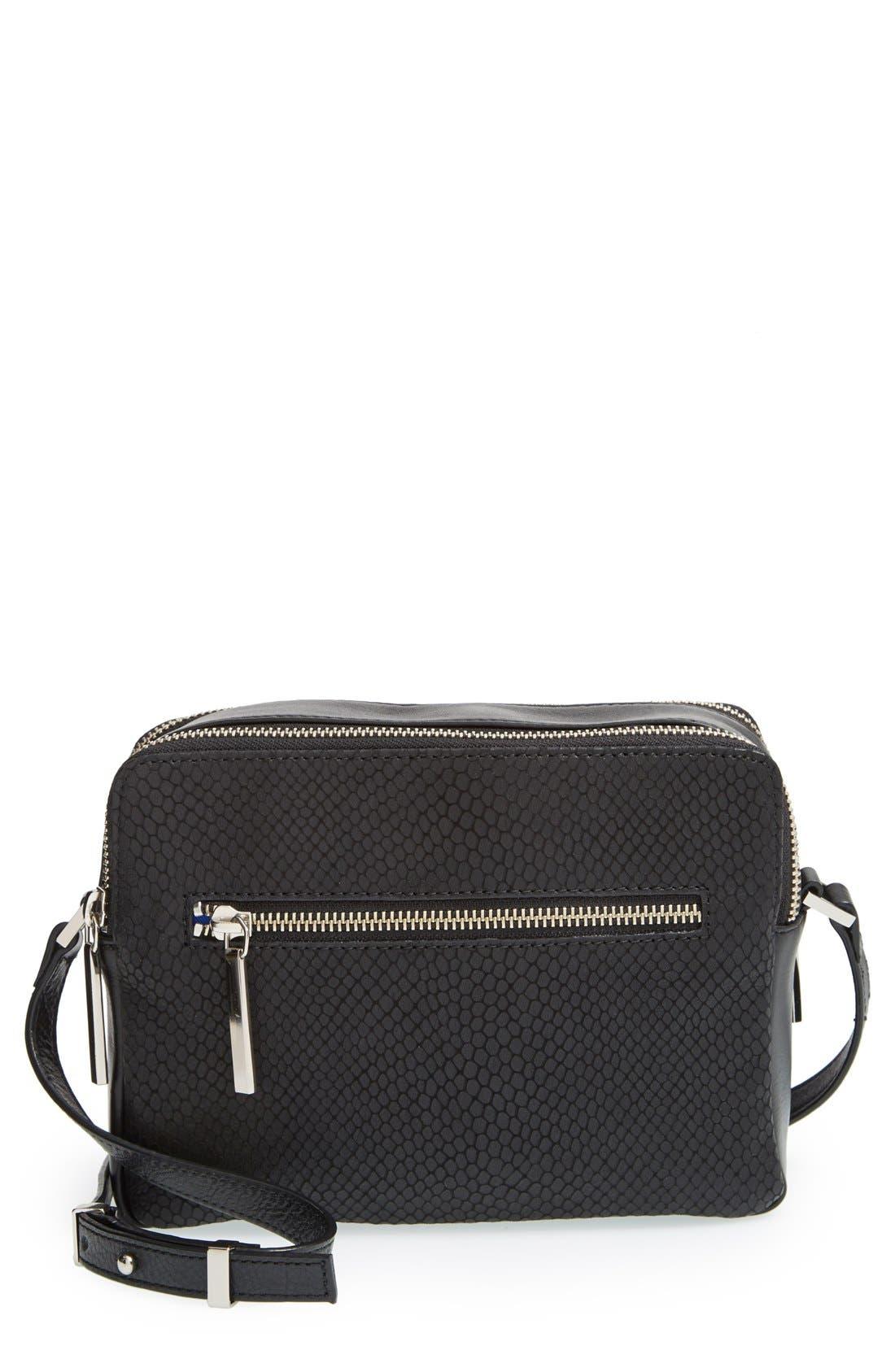 Alternate Image 1 Selected - Halogen® Leather Double Zip Crossbody Bag