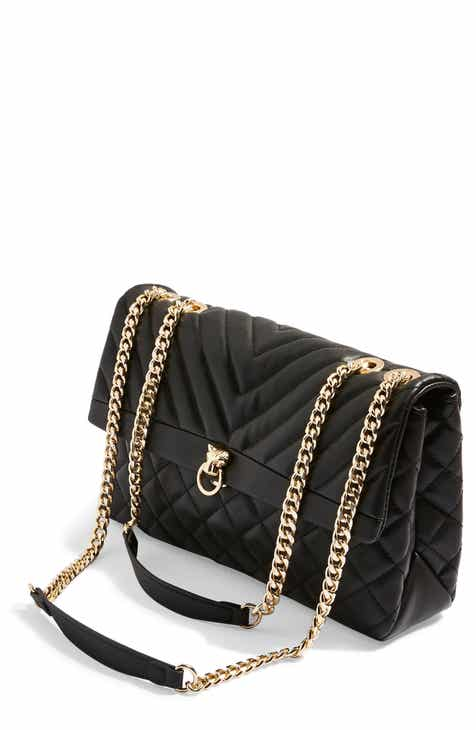 Top Panther Quilted Faux Leather Shoulder Bag