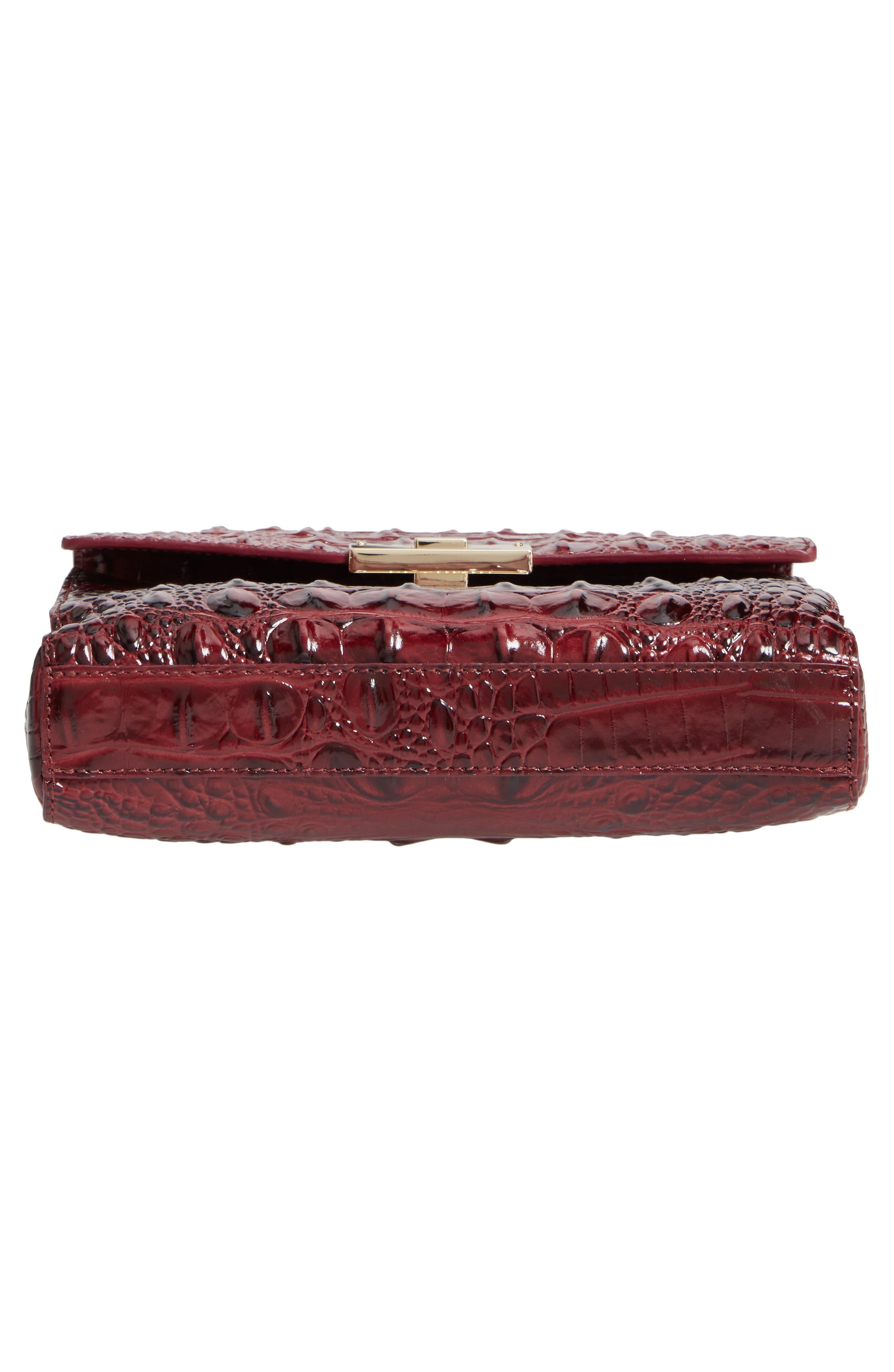 Melbourne Manhattan Croc Embossed Leather Crossbody Bag,                             Alternate thumbnail 5, color,                             Tart