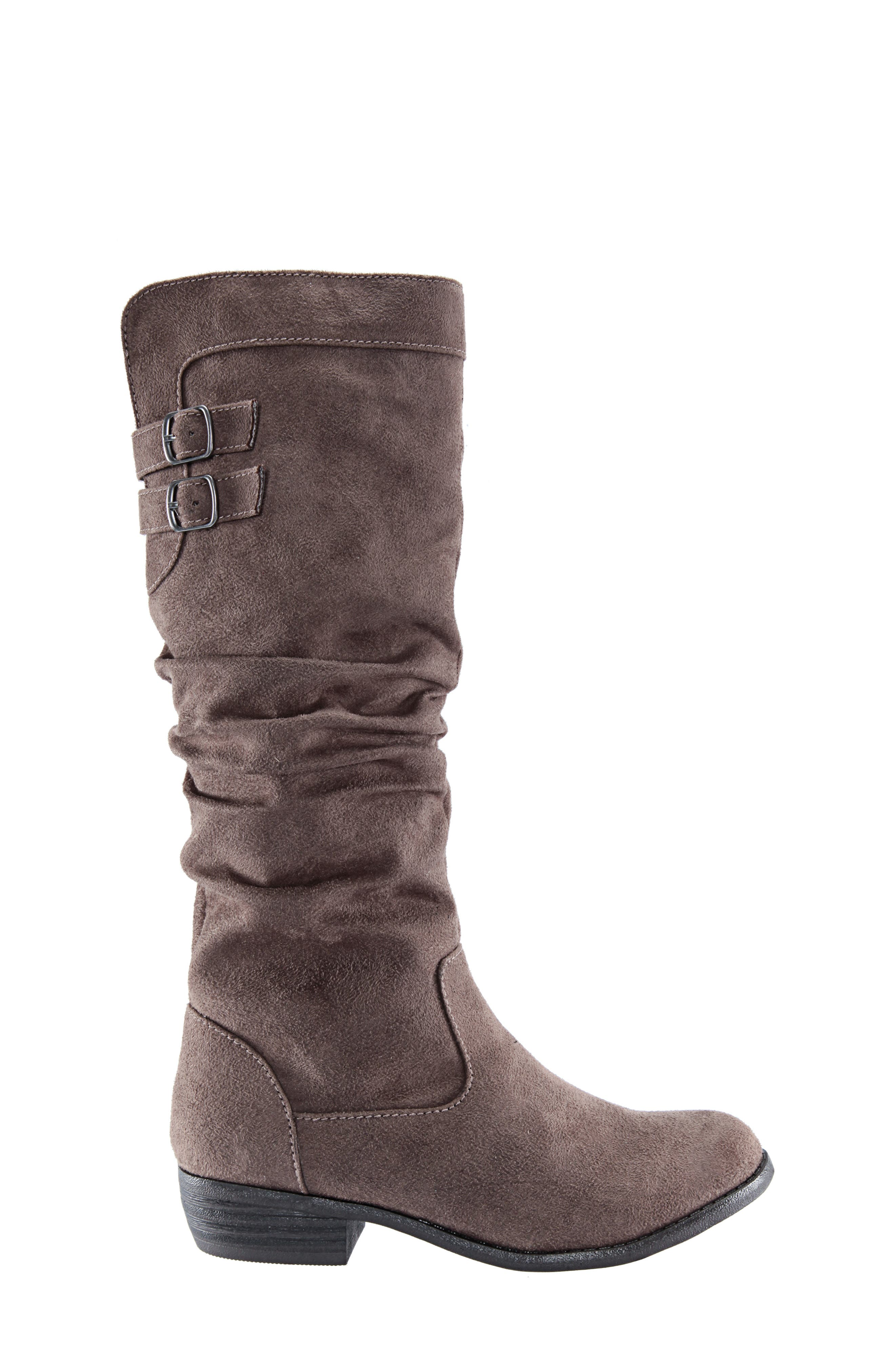 Gilda Tall Slouchy Boot,                             Alternate thumbnail 5, color,                             Taupe Burnished Micro Suede