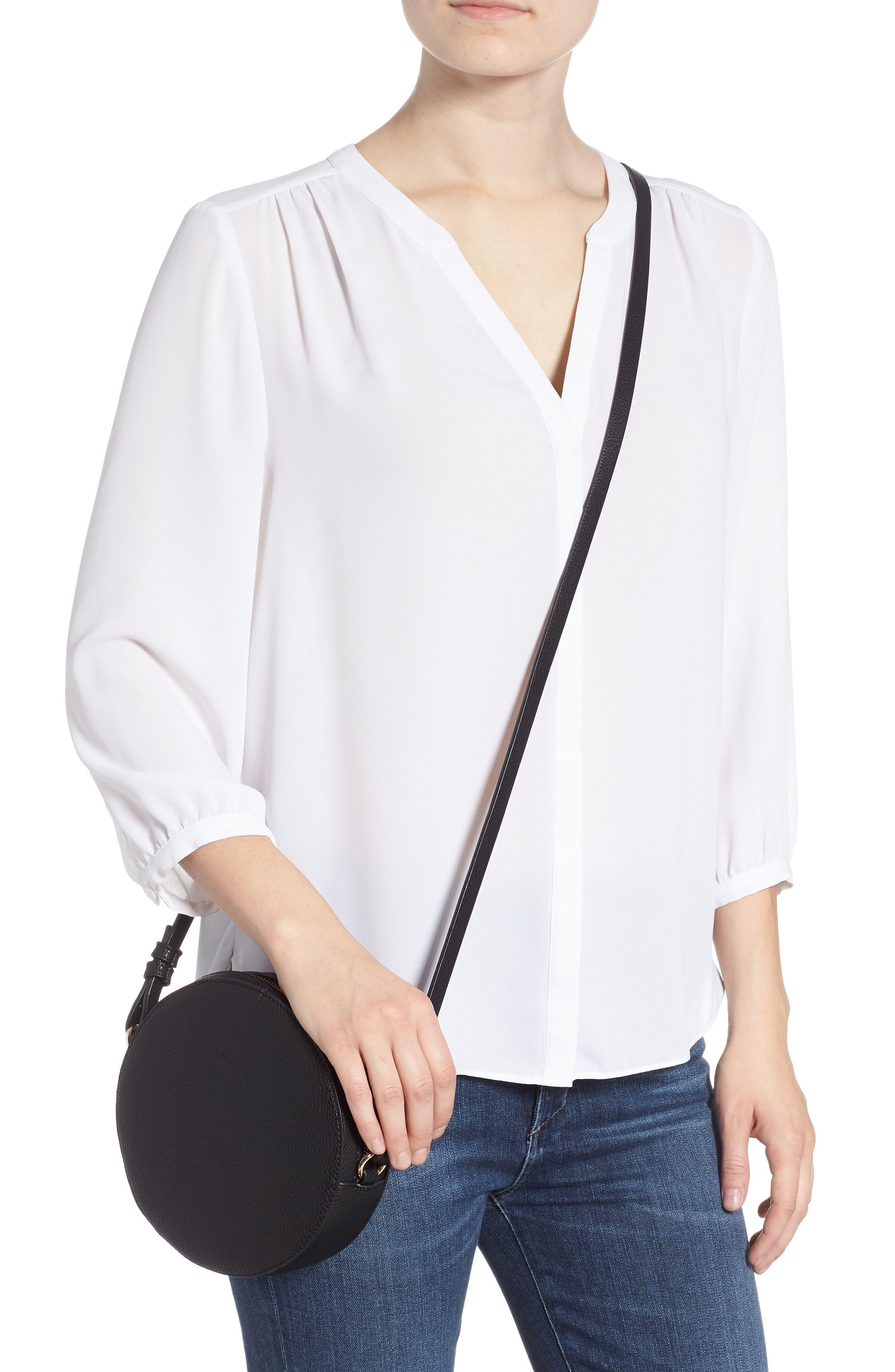 Cassie Faux Leather Circle Crossbody Bag,                             Alternate thumbnail 2, color,                             Black