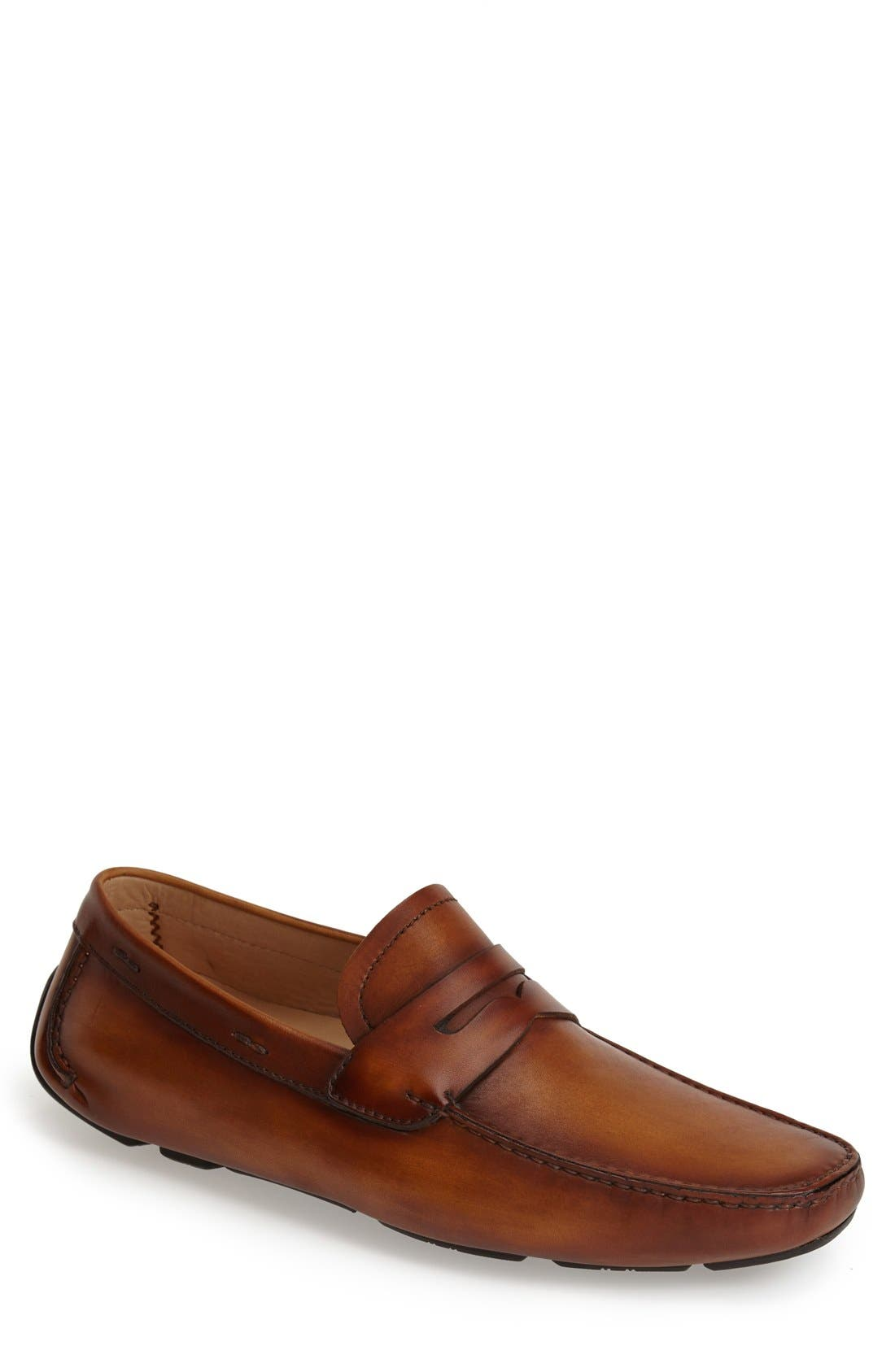 'Dylan' Leather Driving Shoe,                             Main thumbnail 1, color,                             Cognac Leather