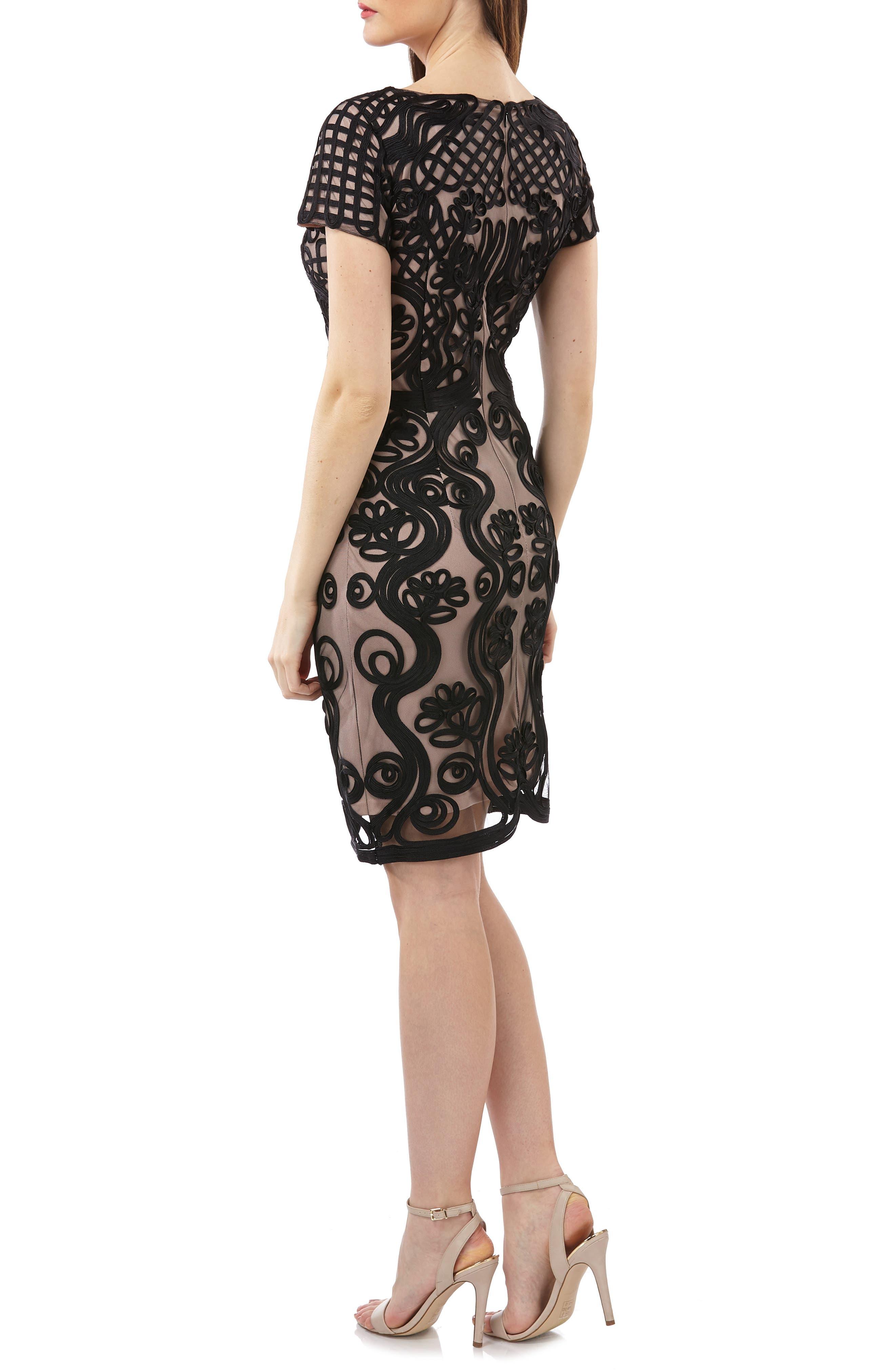 Soutache Mesh Sheath Dress,                             Alternate thumbnail 2, color,                             Black/ Nude