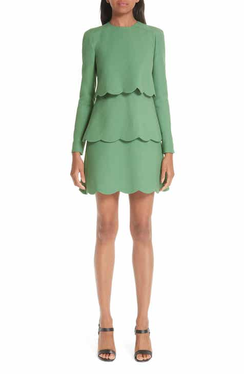 Valentino Wool & Silk Tiered Scallop Dress