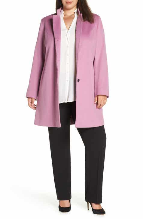 Fleurette Inverted Collar Loro Piana Wool Coat (Plus Size)