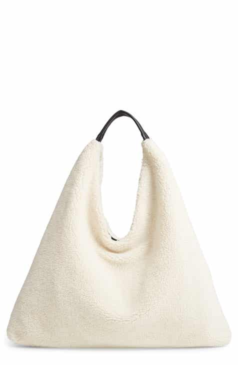 Faux Shearling Triangle Tote