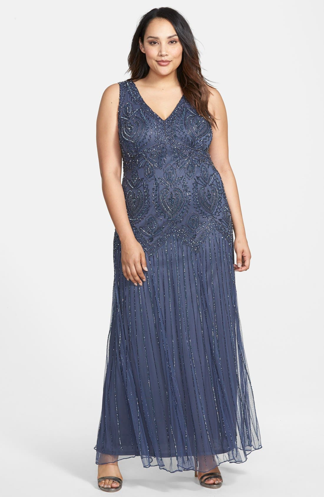 Alternate Image 3  - Pisarro Nights Beaded V-Neck Gown & Jacket (Plus Size)