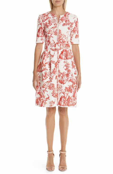 cd9cfd7e1bb3 Oscar de la Renta Toile Print Belted Zip Front Dress