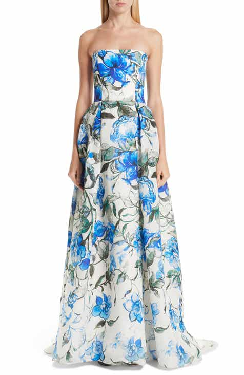 Carolina Herrera Floral Strapless Silk Evening Dress by CAROLINA HERRERA