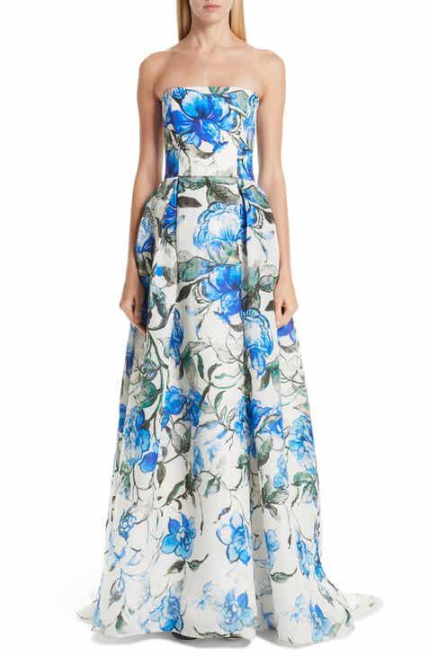 Carolina Herrera Floral Strapless Silk Evening Dress by CAROLINA HERRERA
