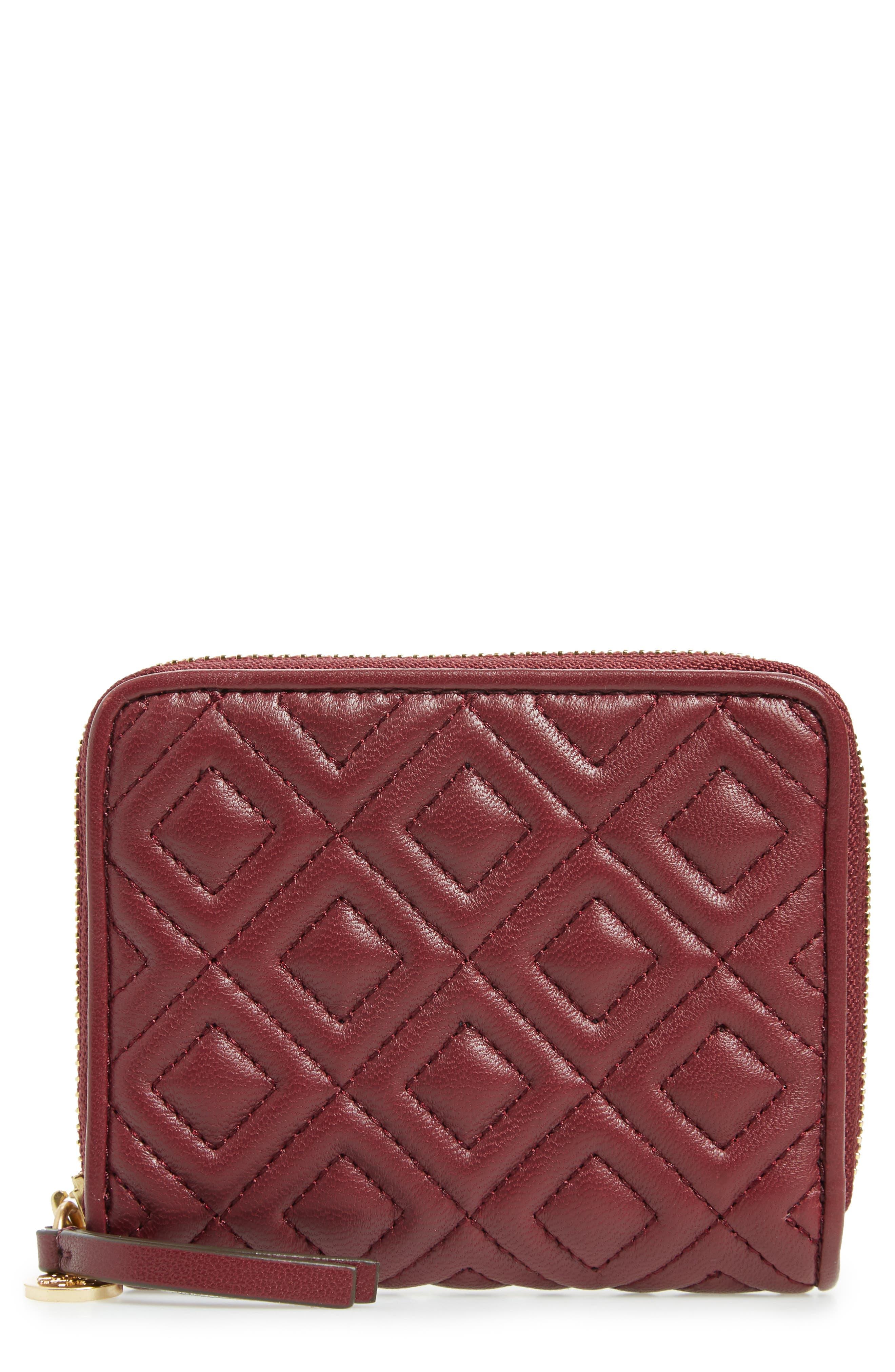 Fleming Medium Leather Zip Around Wallet,                         Main,                         color, Imperial Garnet