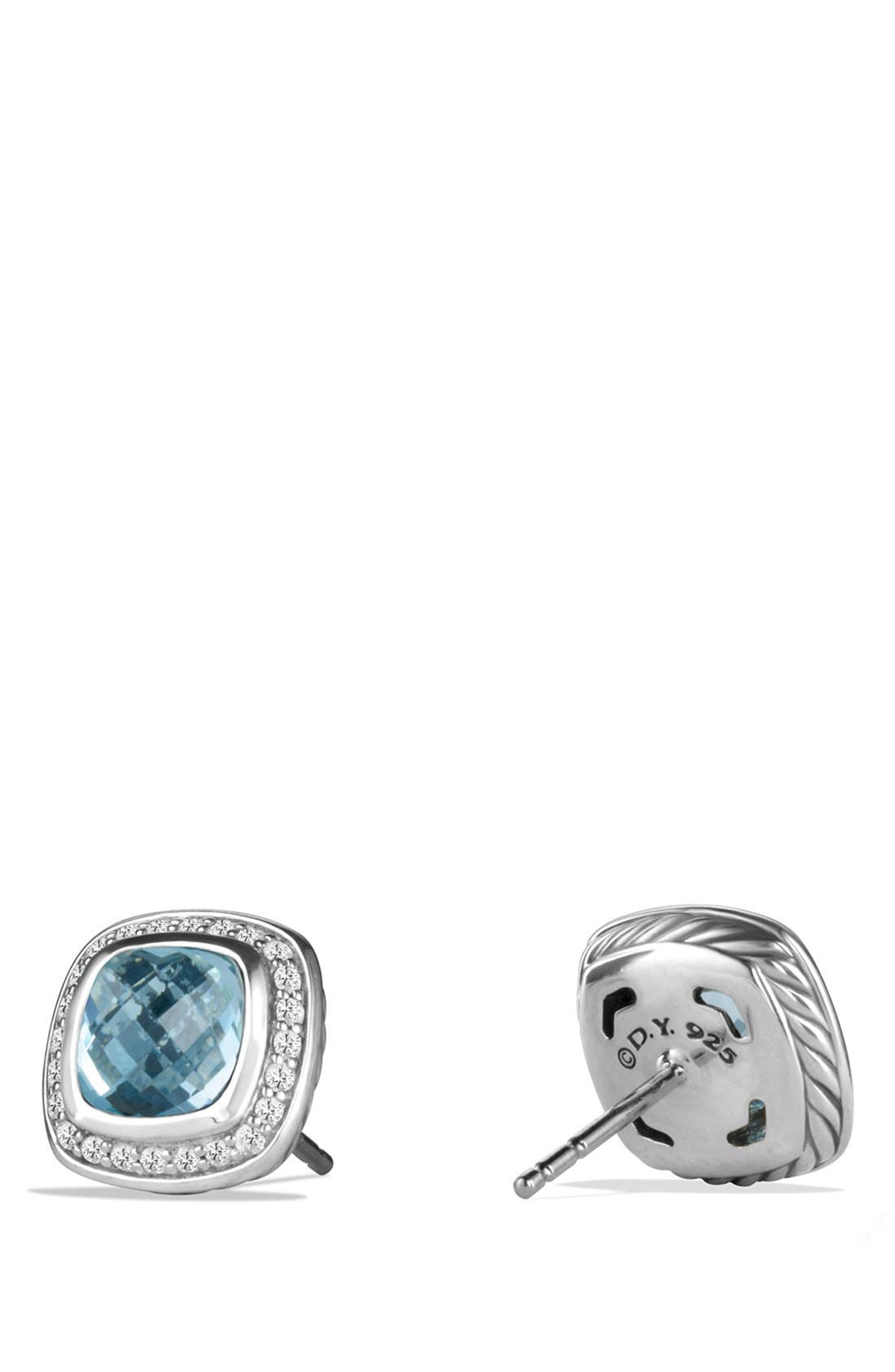 'Albion' Earrings with Semiprecious Stone and Diamonds,                             Alternate thumbnail 2, color,                             Blue Topaz